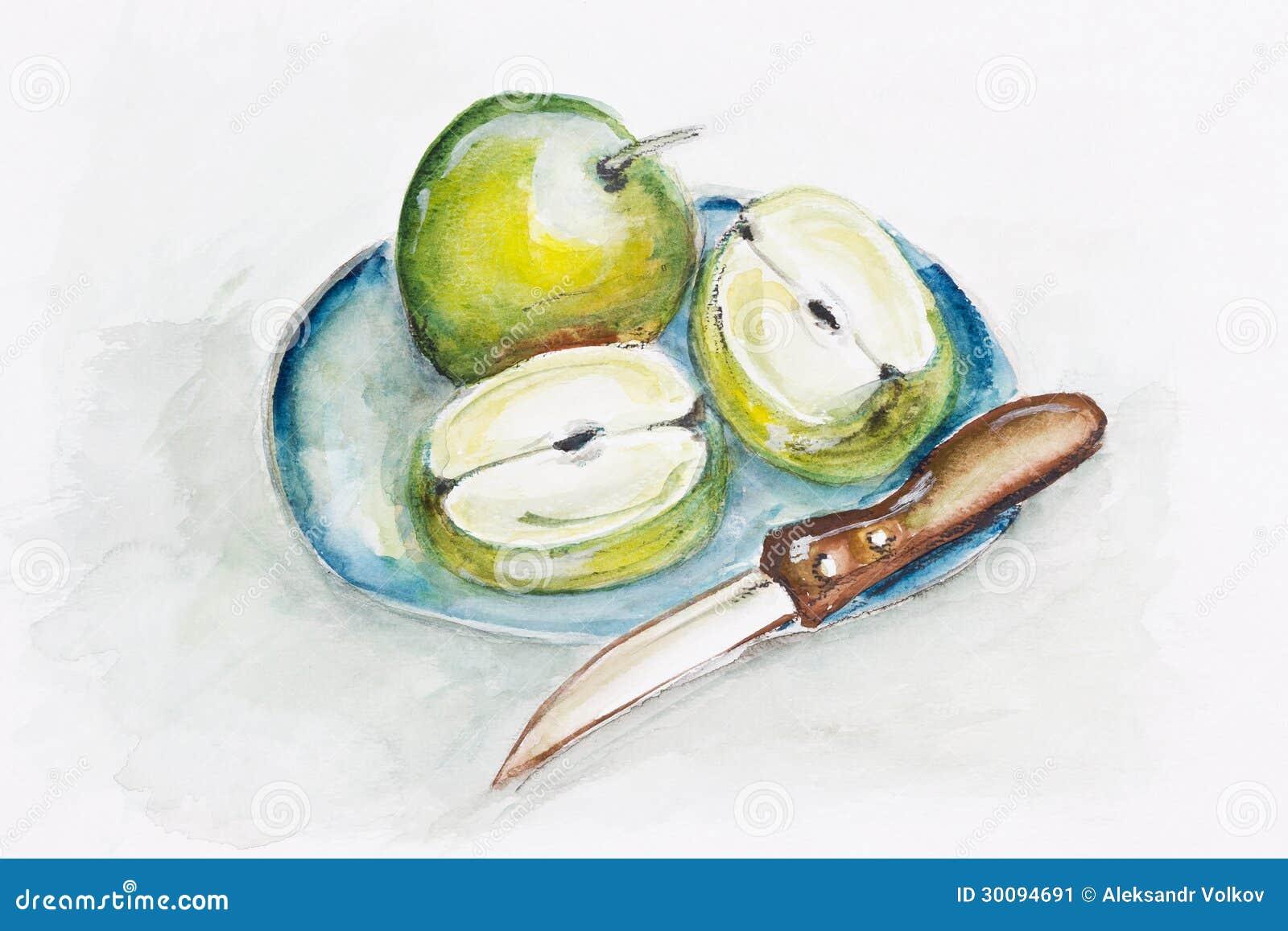 Manzanas y cuchillo afilado verdes