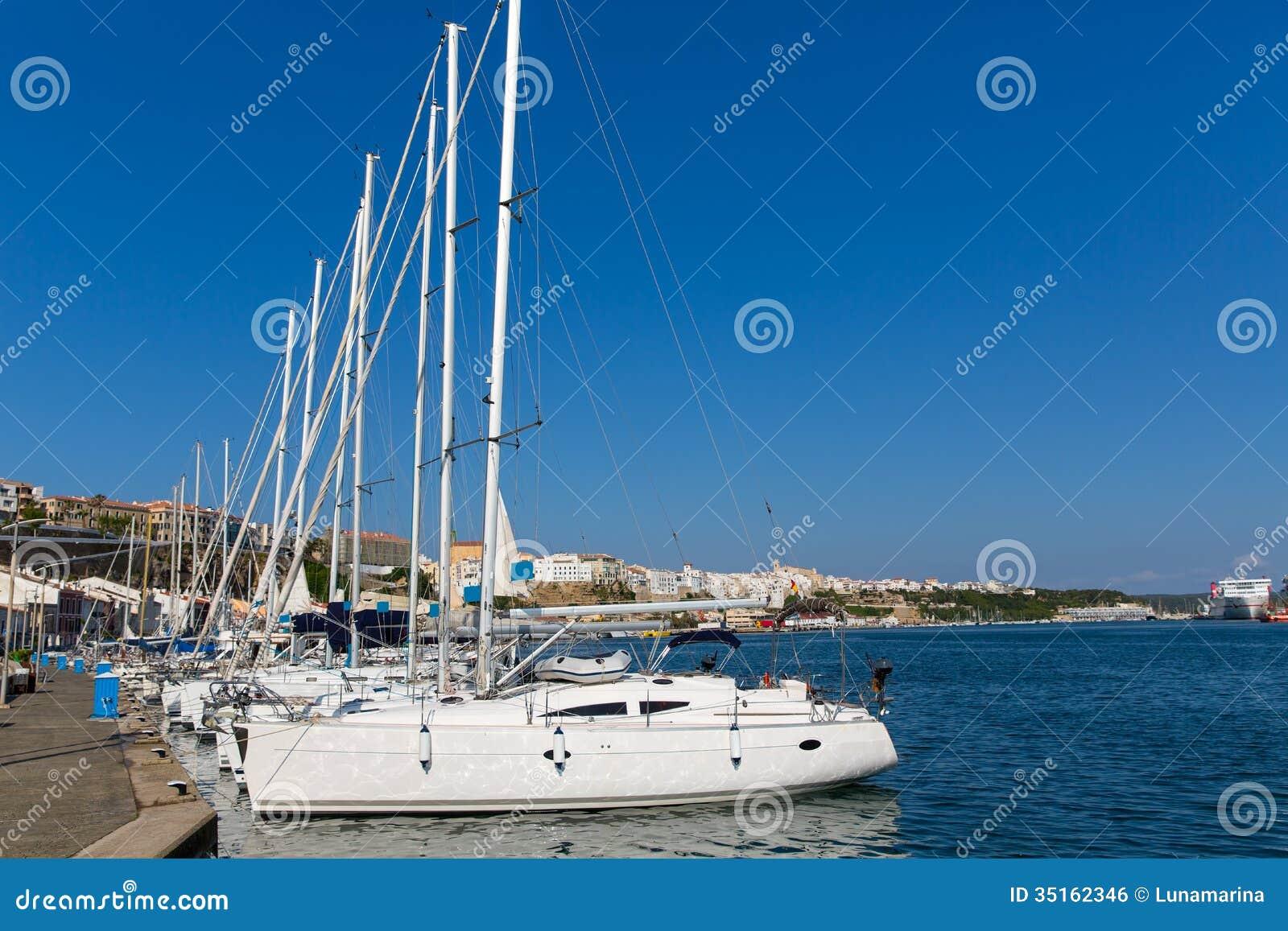 Mao Port Of Mahon In Menorca At Balearic Islands Royalty Free Stock Image - I...