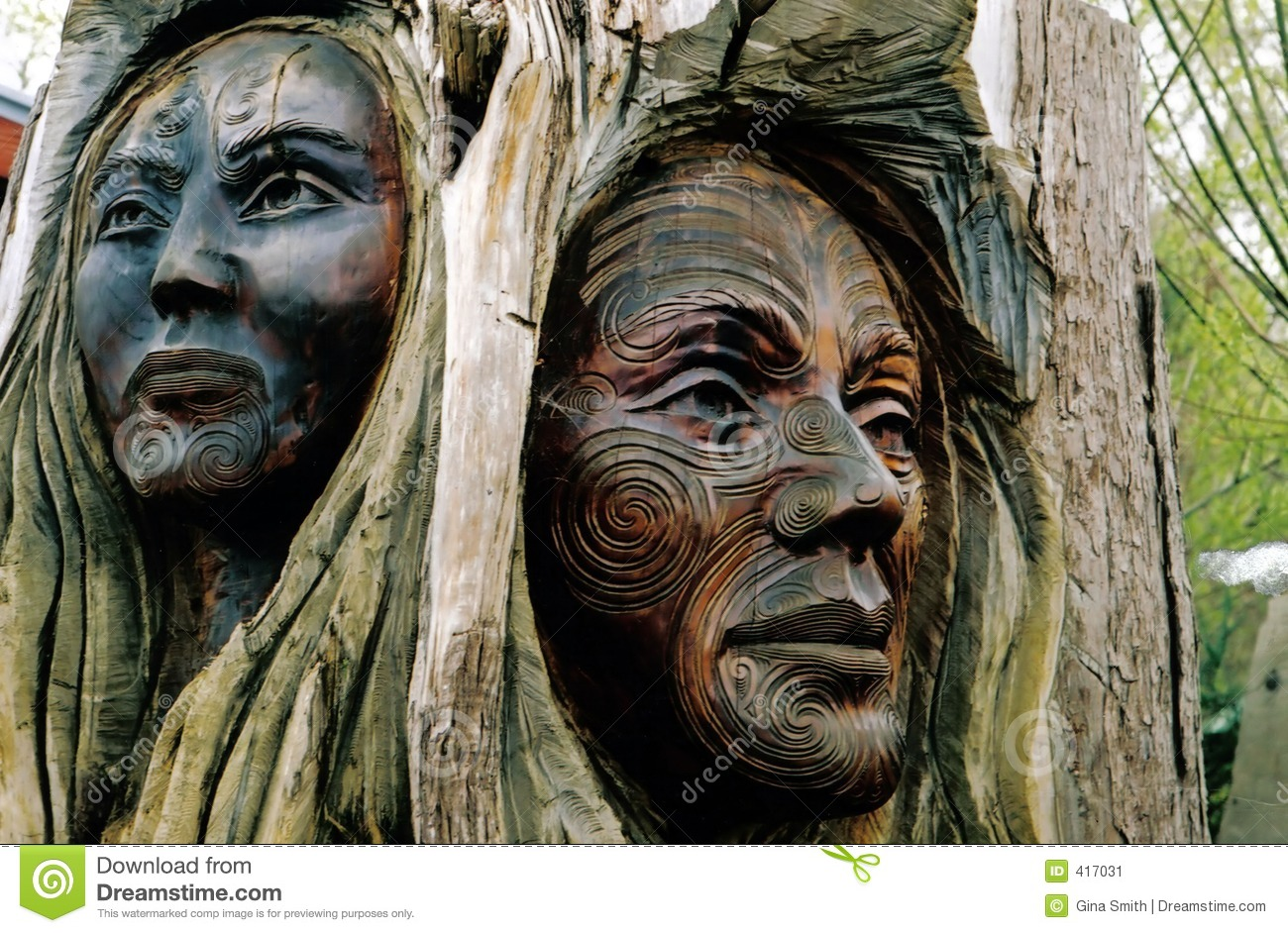 Maori carvings stock image