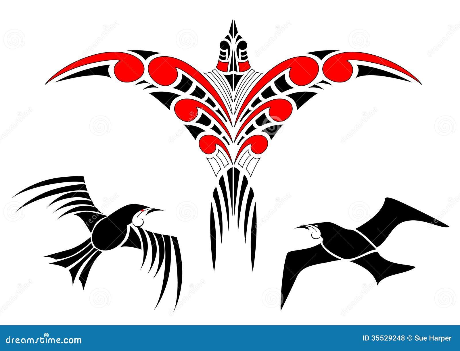 Maori Koru Bird Designs With Tui Royalty Free Stock Photos