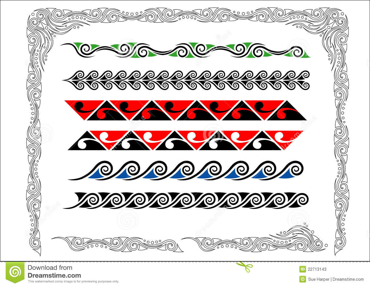 Collection of Maori Koru Borders with color.