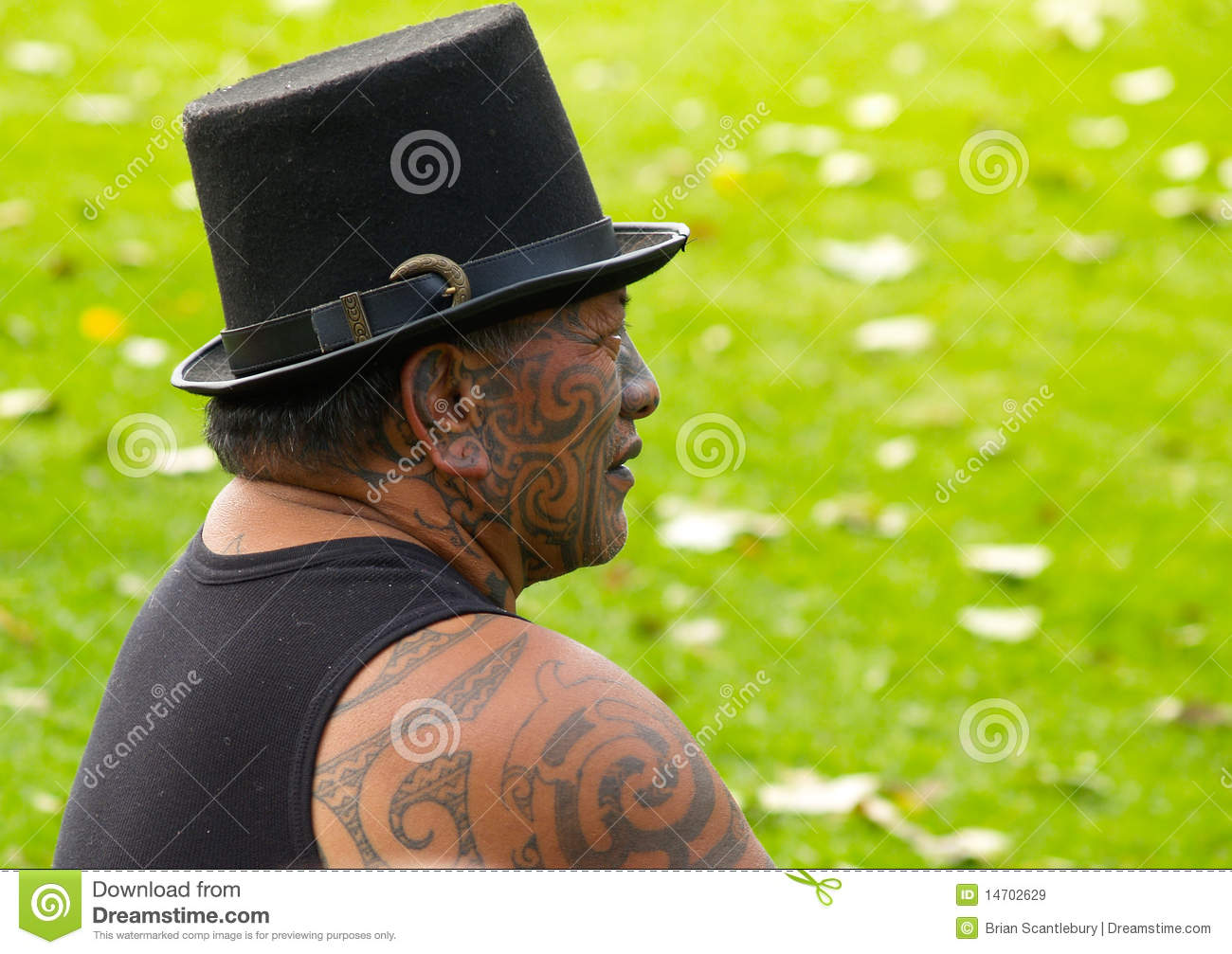 Maori Man: Maori Man Displaying Traditional Facial Tattoo. Editorial