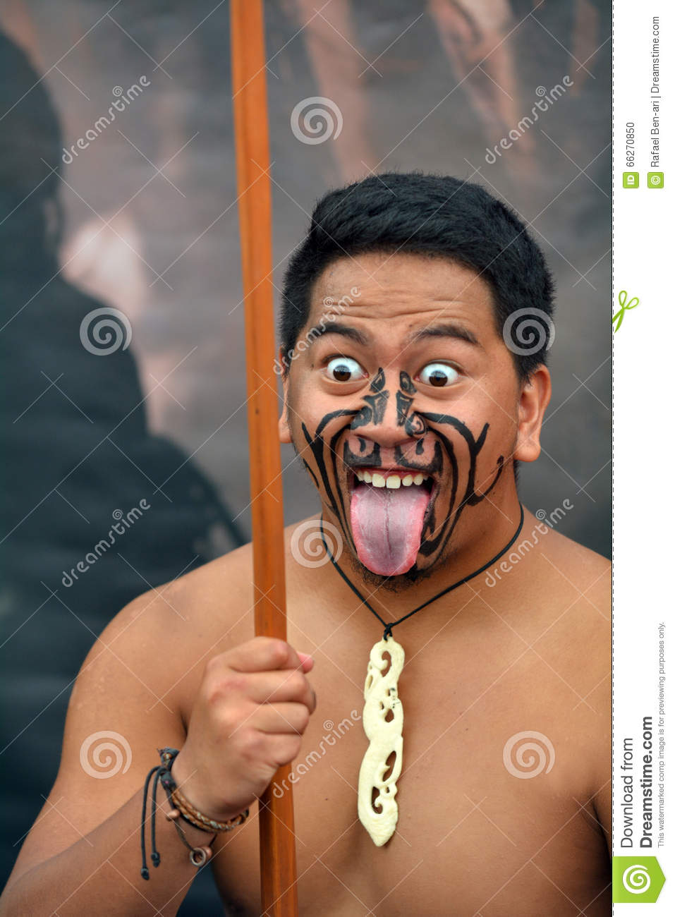 Maori Man: Maori Man In Traditional Greeting Editorial Image