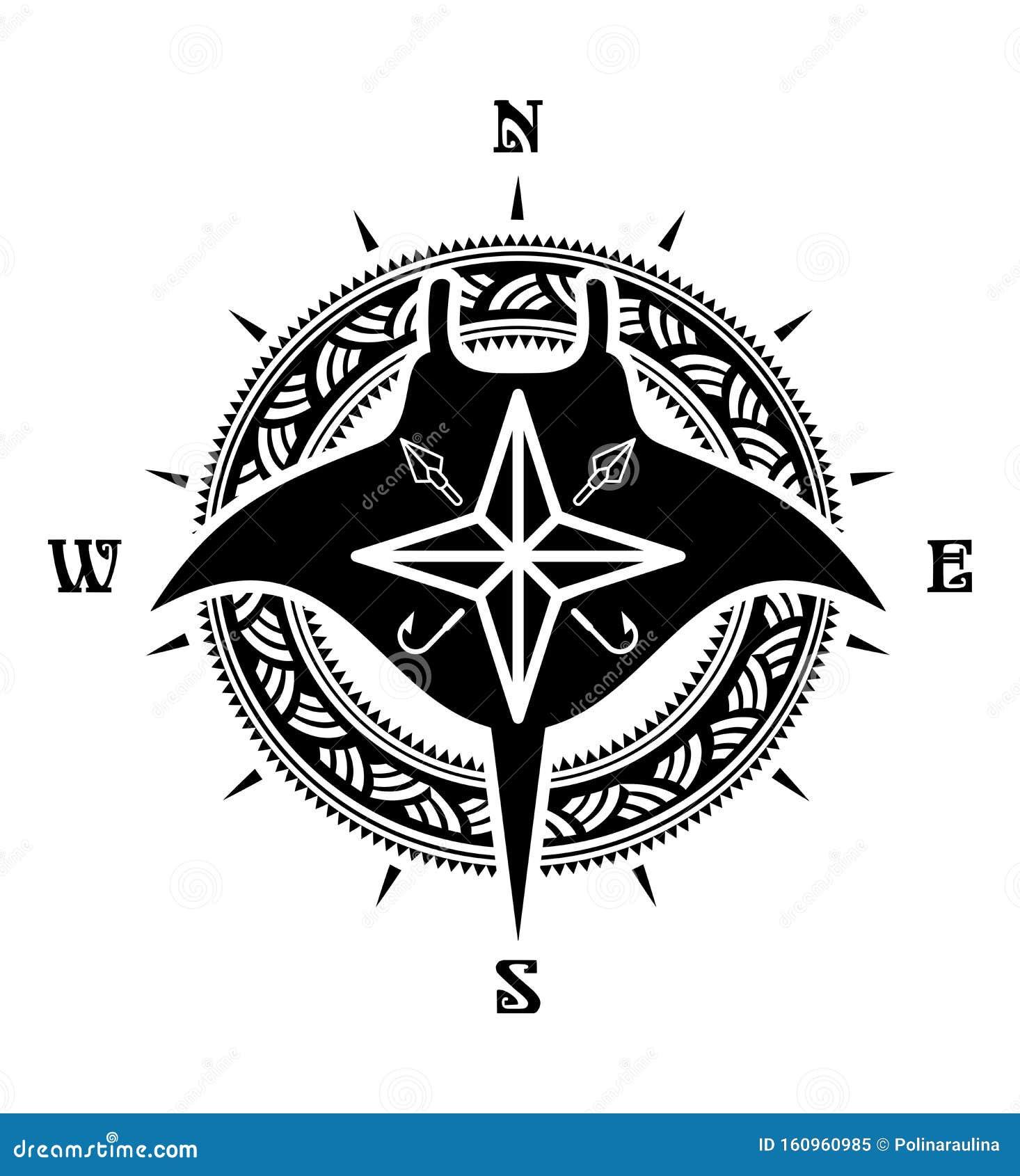 Maori Style Manta Ray Silhouette Tattoo Drawing Stock Image