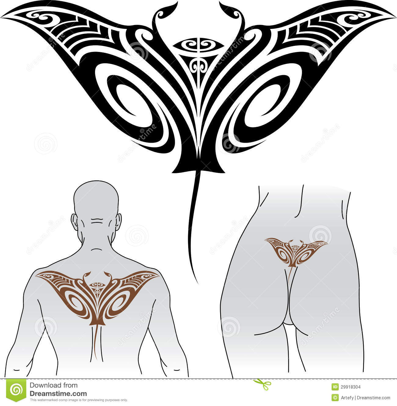 Maori Animal Tattoo Designs: Maori Manta Tattoo Design Stock Images