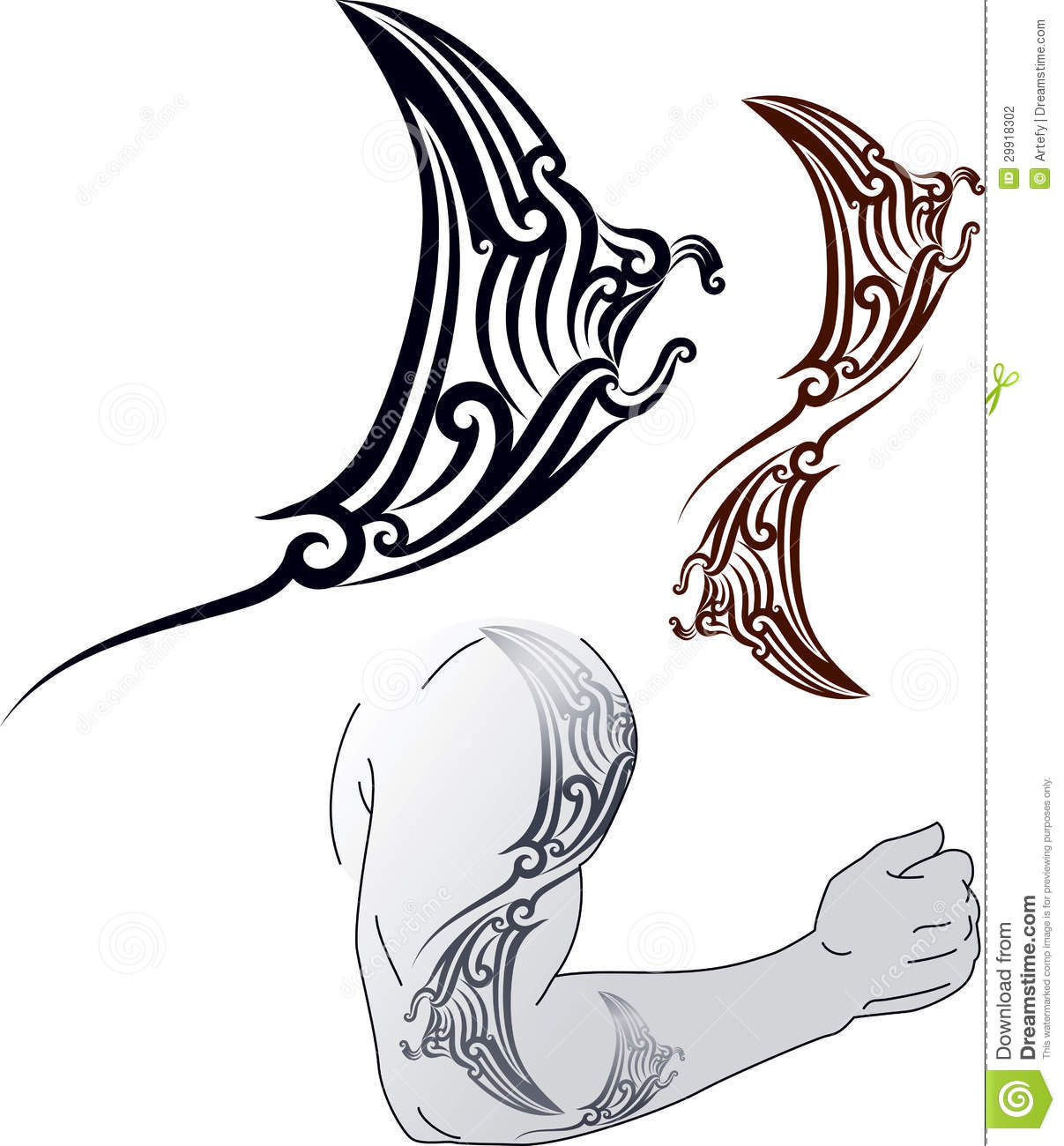 Maori styled tattoo pattern in shape of manta ray profile. Fit for ...