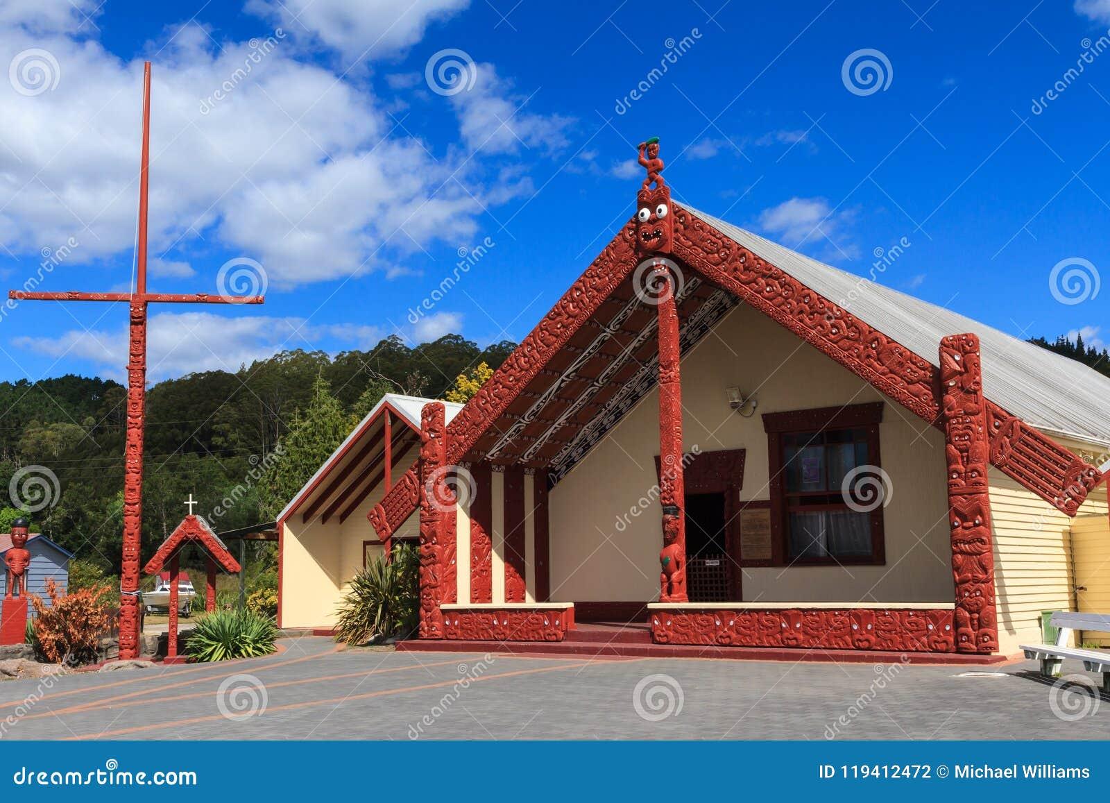 Maoryjska architektura, Whakarewarewa, Nowa Zelandia