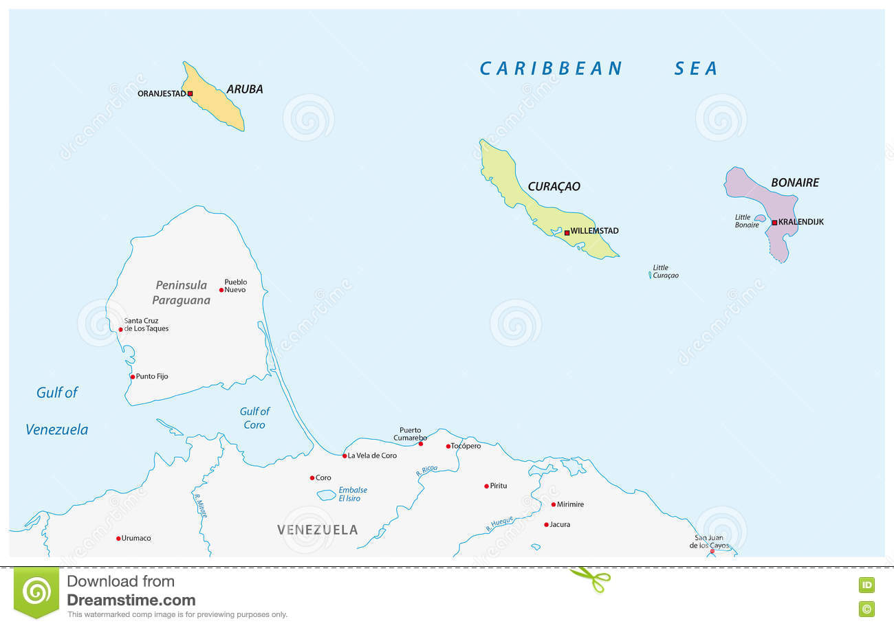 Map Of The ABC Islands In The Caribbean Sea Stock Illustration ...