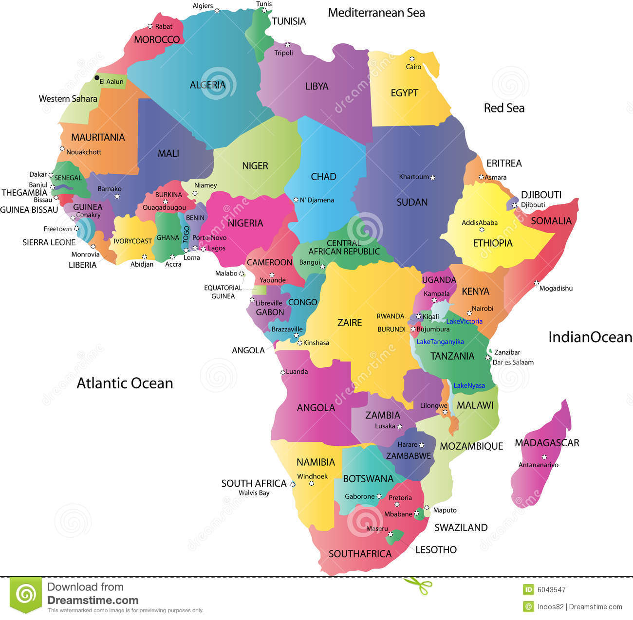 Map Of Africa Stock Vector Illustration Of Background 6043547