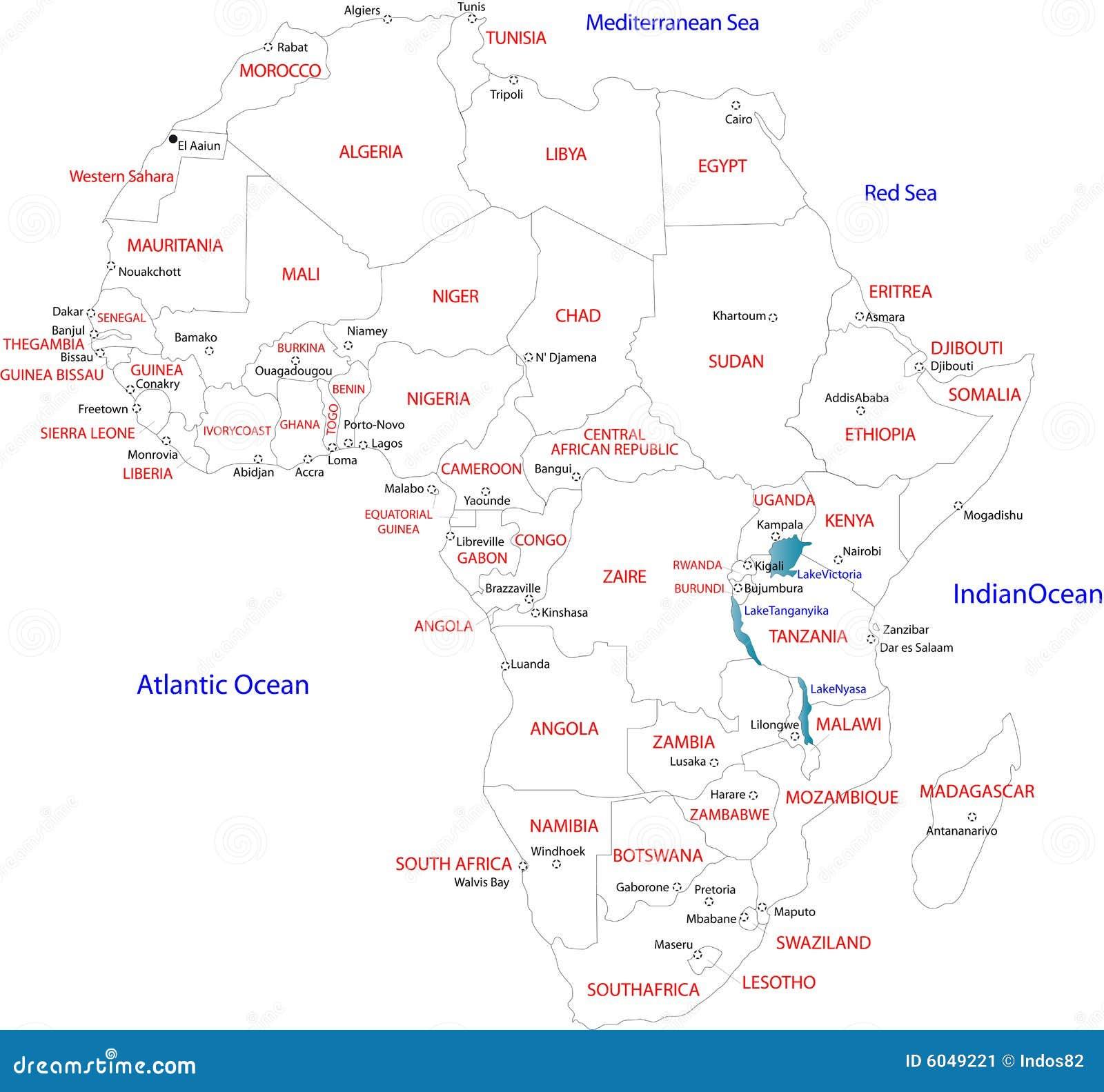 Carte De Lafrique Noir Et Blanc.Map Of Africa Stock Vector Illustration Of Color