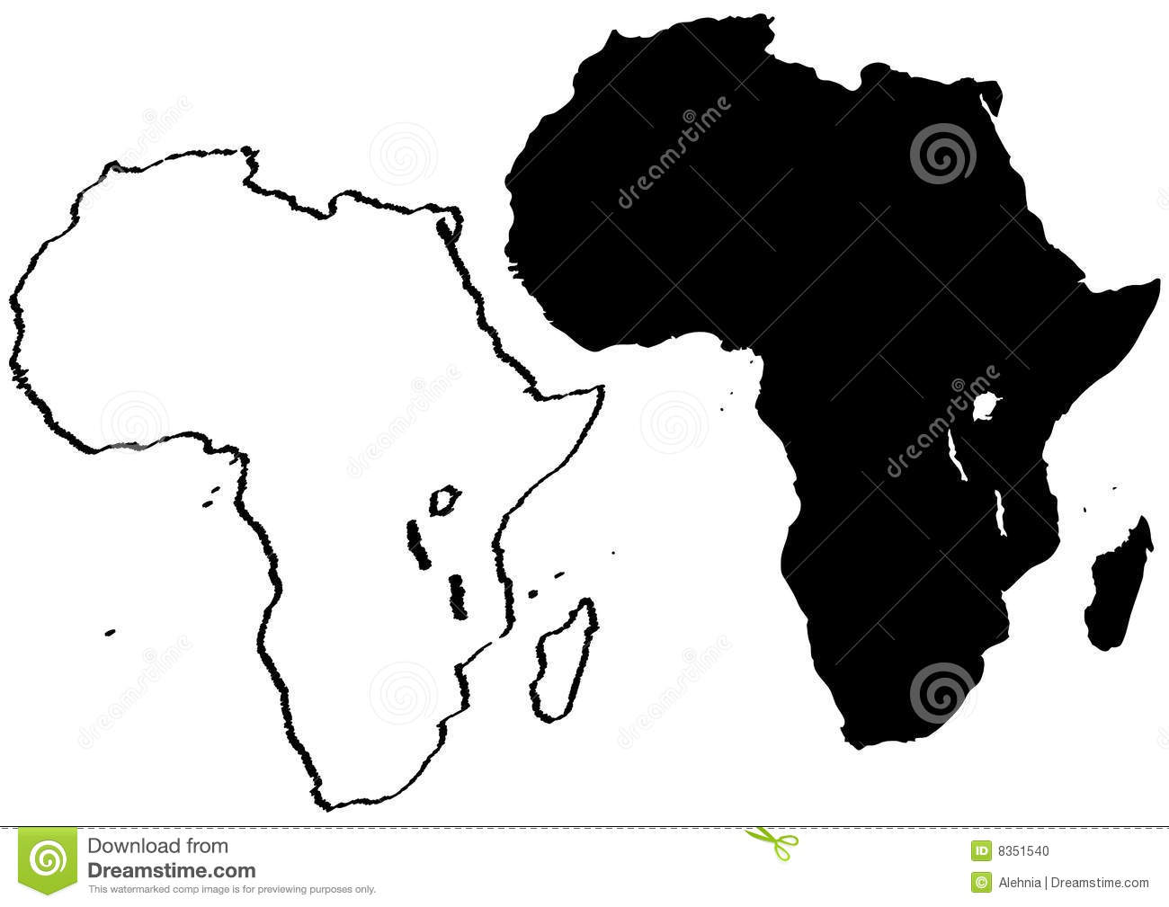 Black And White Map Of Africa Illustration