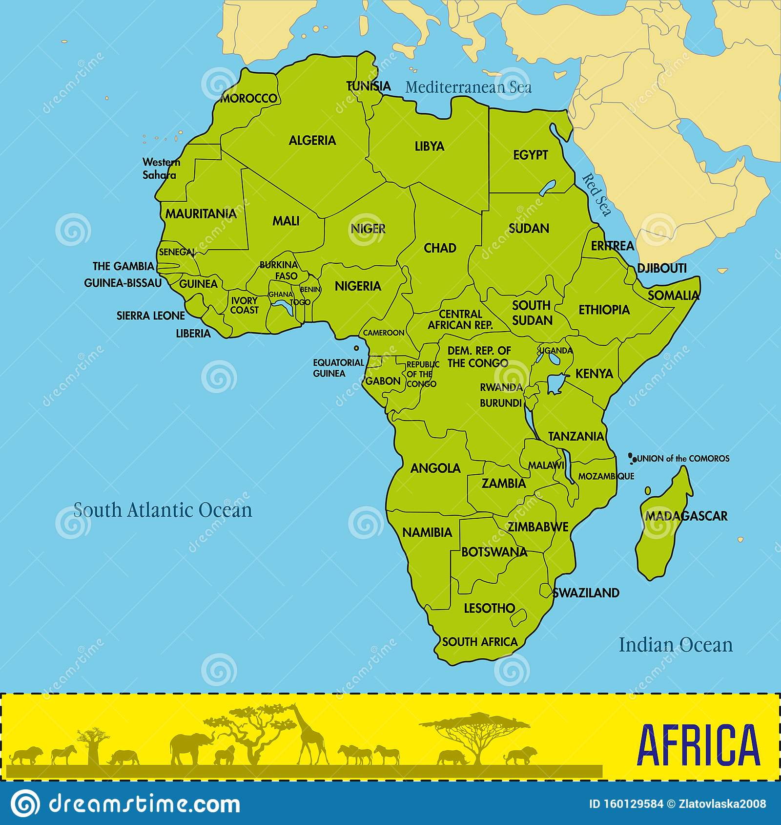 africa map and capitals Map Of Africa With All Countries And Their Capitals Stock Vector africa map and capitals