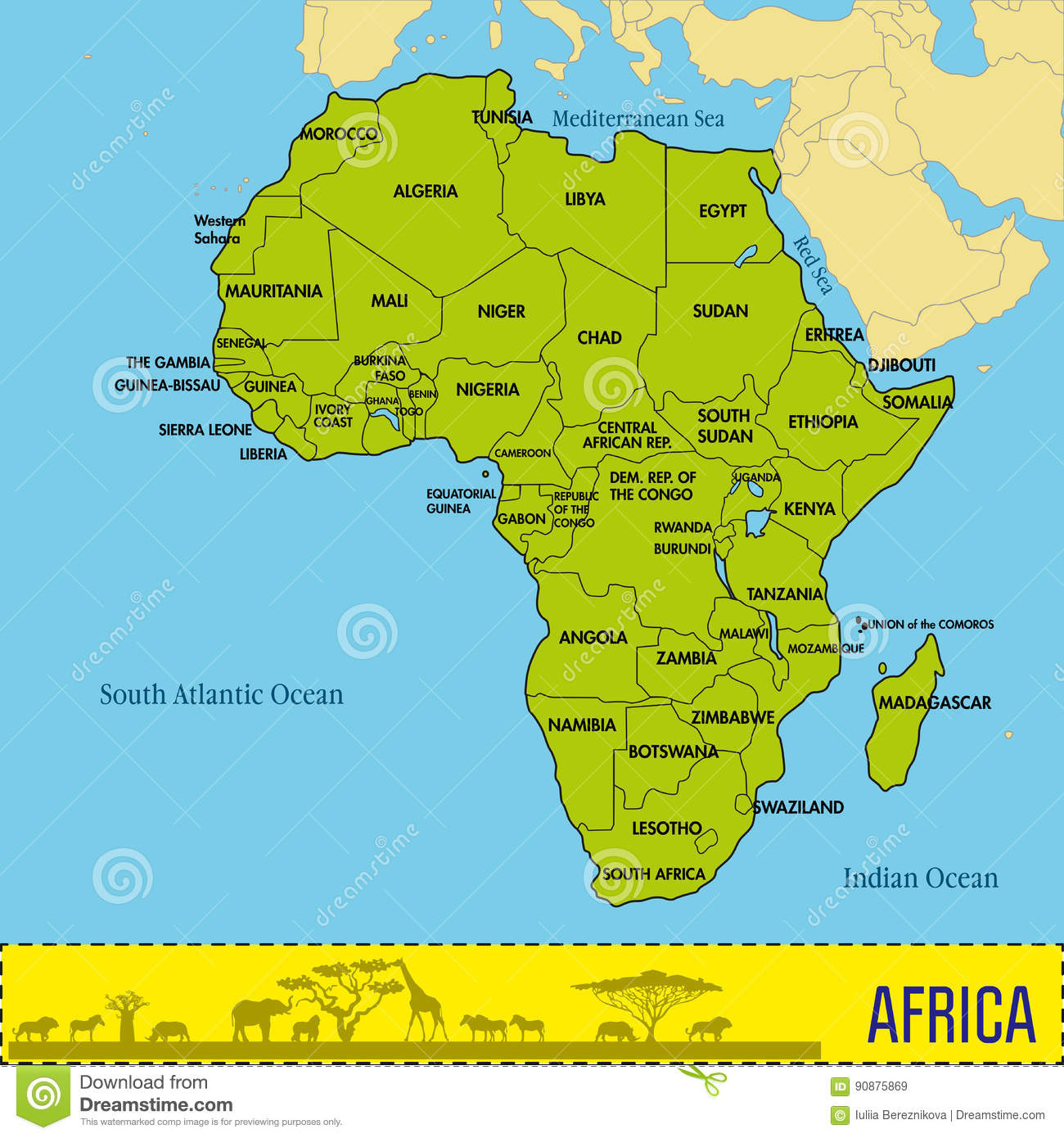 Map Of Africa With Countries And Capitals.Map Of Africa With All Countries And Their Capitals Stock Vector