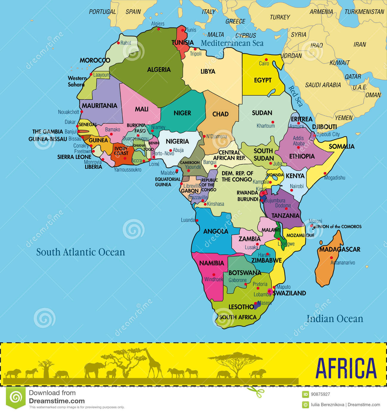Download Map Of Africa With All Countries And Their Capitals Stock Vector    Illustration Of Giraffe