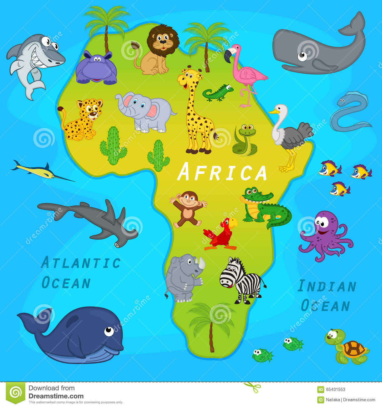 Map of Africa with animals stock vector. Illustration of continent