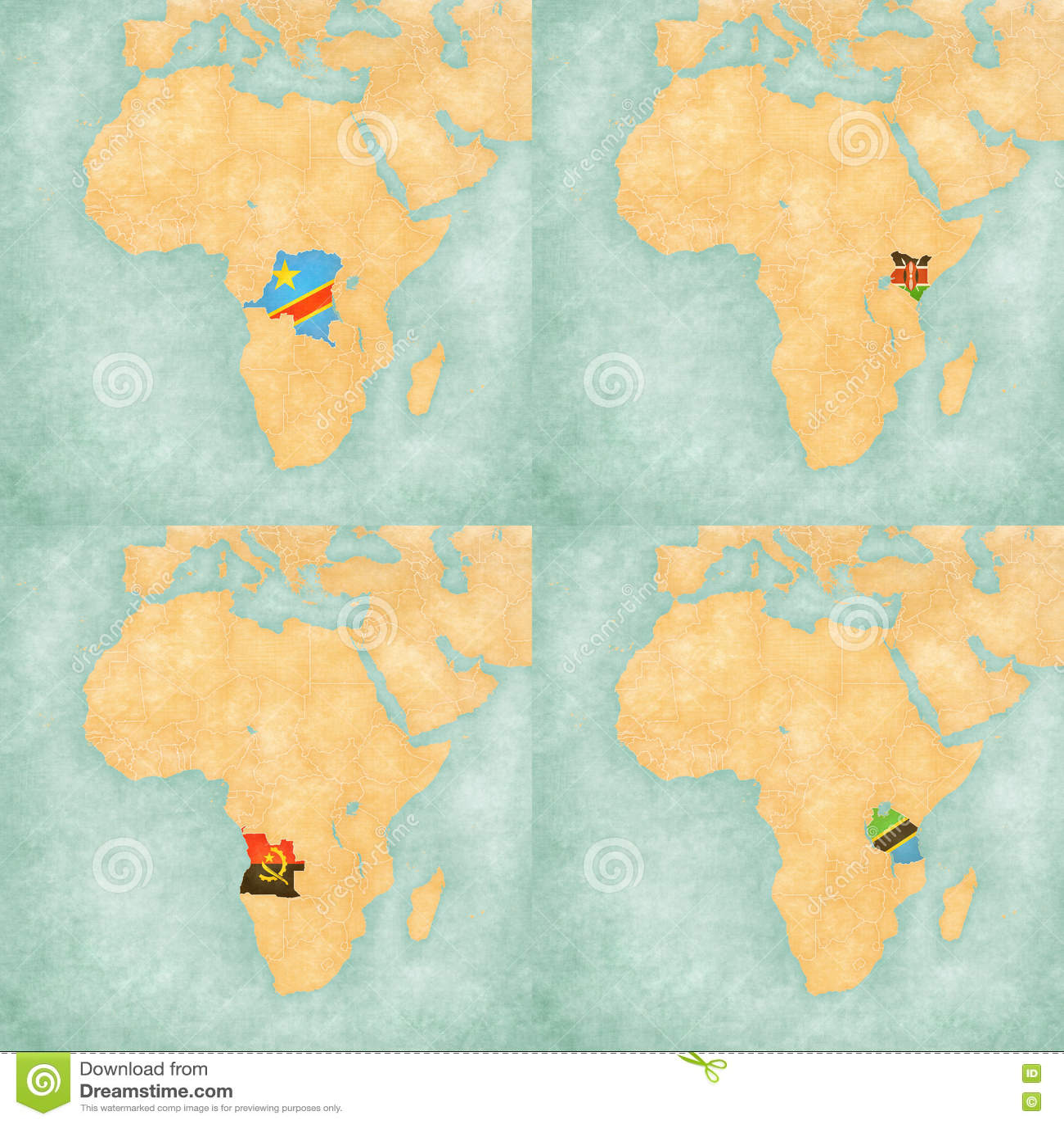 Tanzania On A Map Of Africa.Map Of Africa Dr Congo Kenya Angola And Tanzania Stock