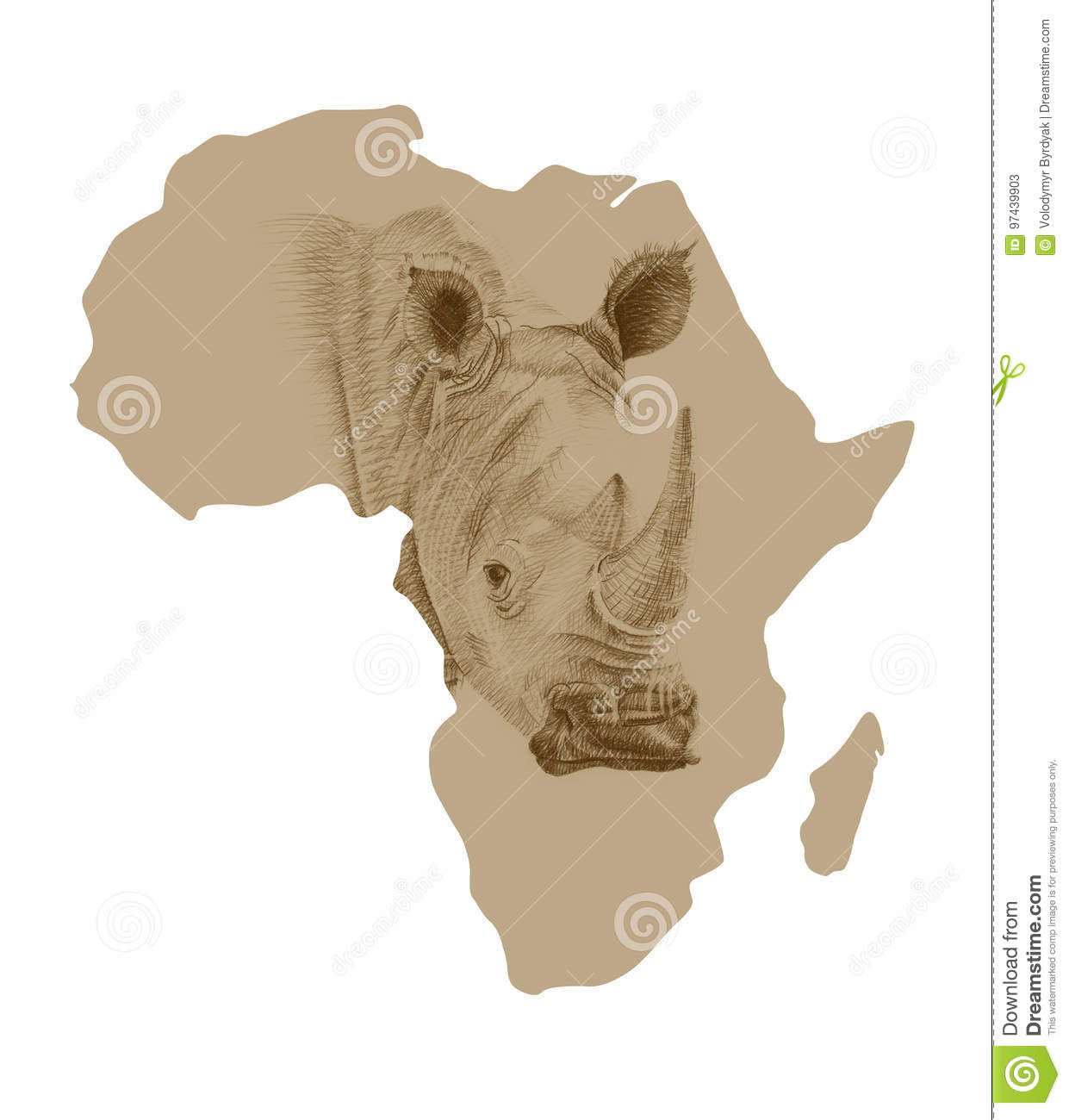 Map Of Africa Drawing.Map Of Africa With Drawn Rhino Stock Illustration Illustration Of