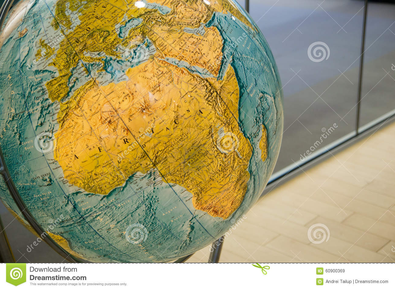 Map Of Africa On Globe Stock Image Image Of Ocean Concept 60900369
