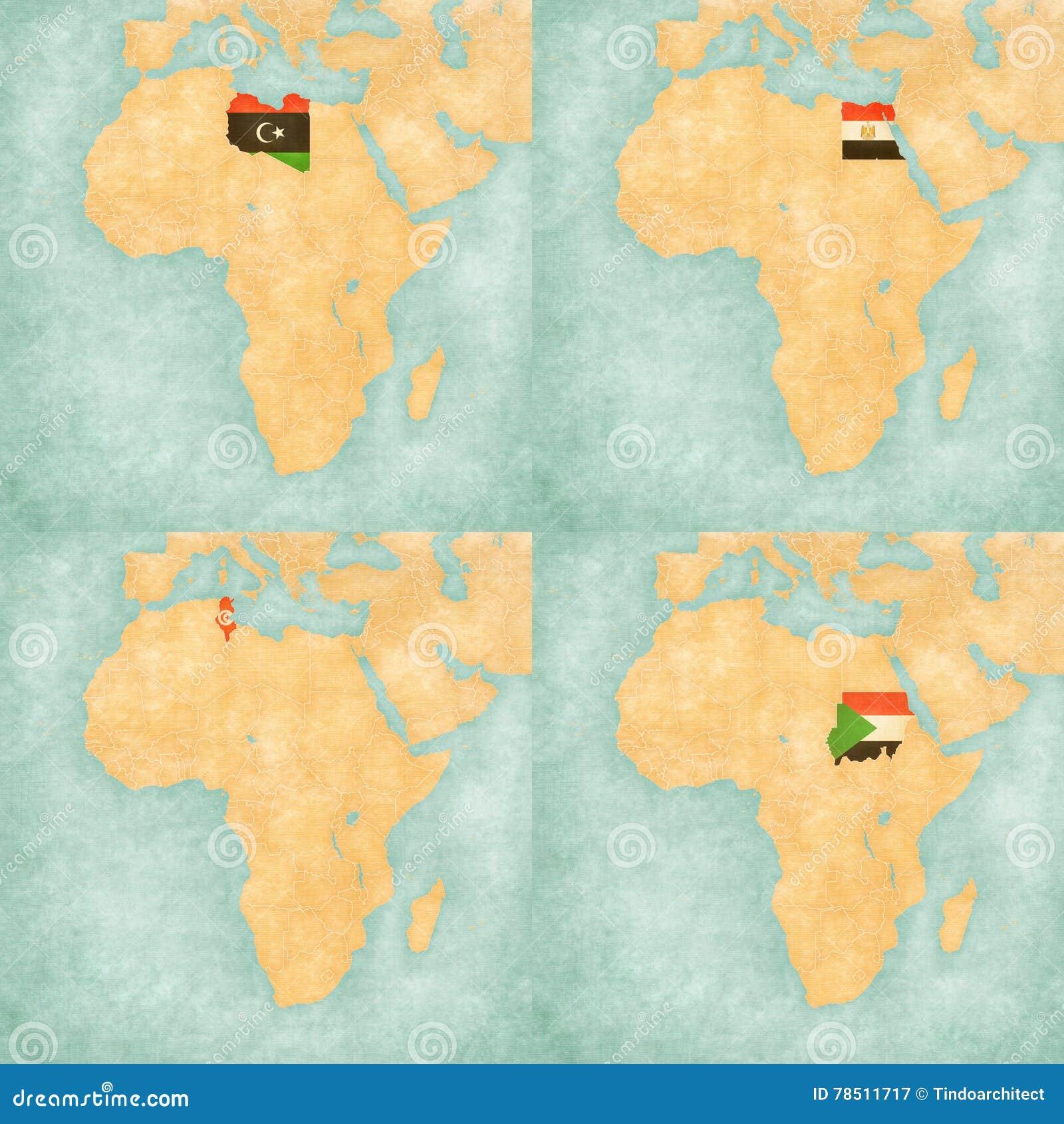 Map Of Africa - Libya, Egypt, Tunisia And Sudan Stock Illustration ...