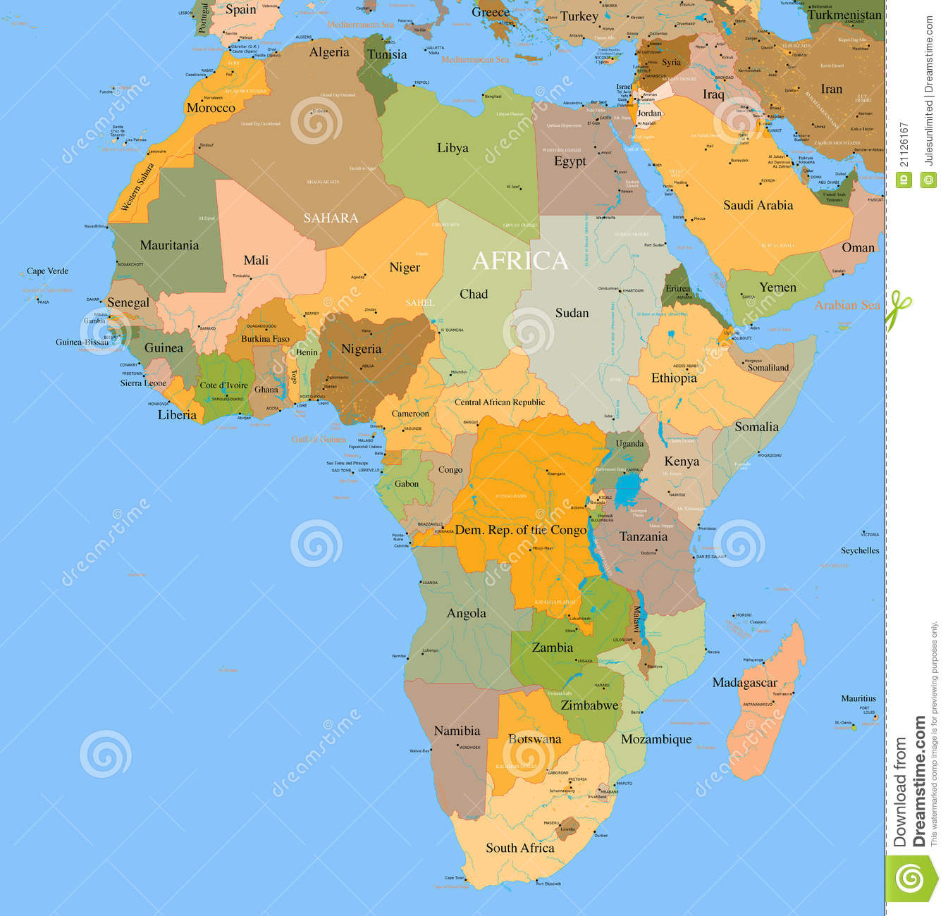 Map Of Africa Detailed.Map Africa Vector Detailed Stock Vector Illustration