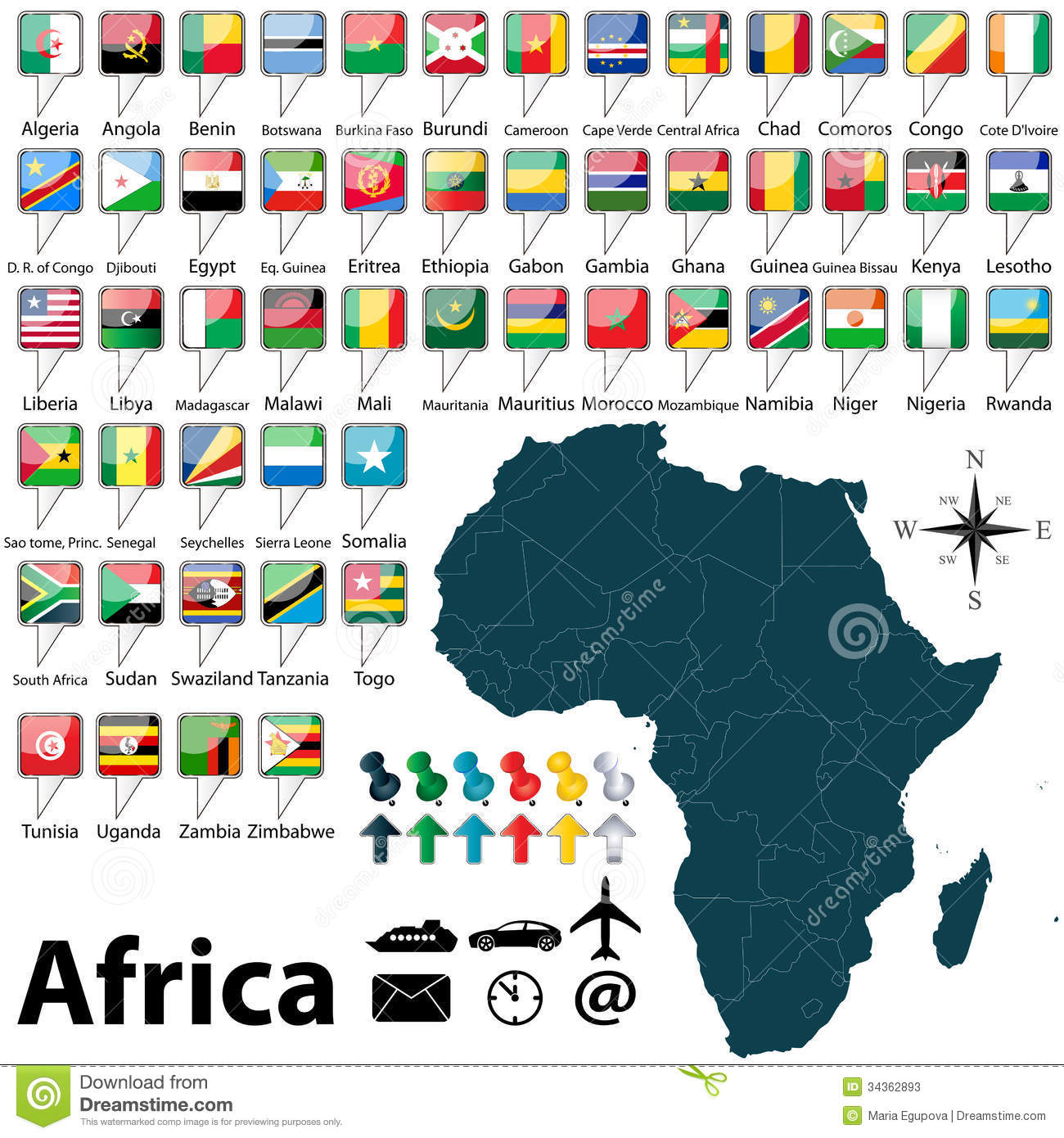 Map Of Africa Flags.Map Of Africa Stock Vector Illustration Of Madagascar