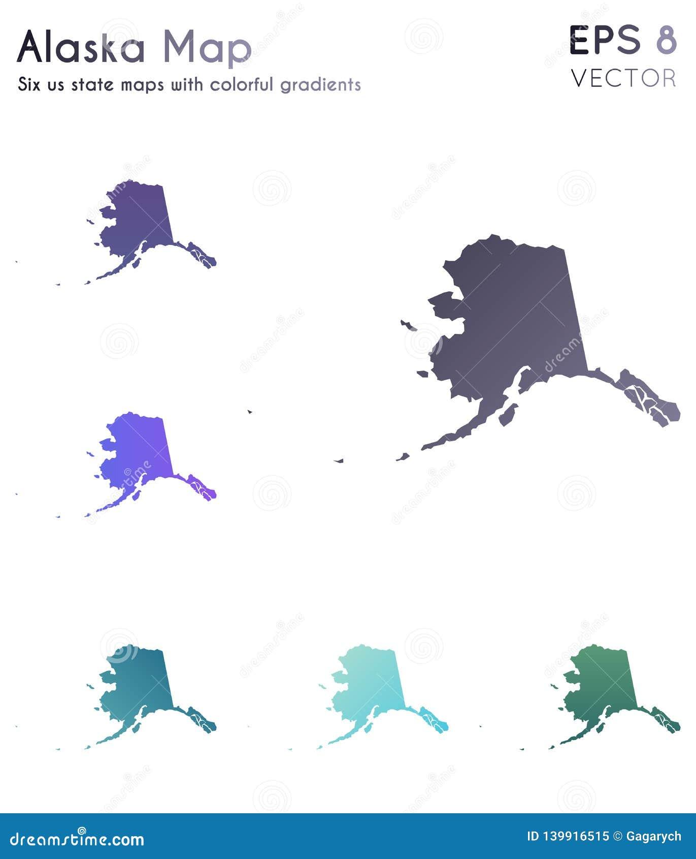 Map Of Alaska With Beautiful Gradients. Stock Vector ...