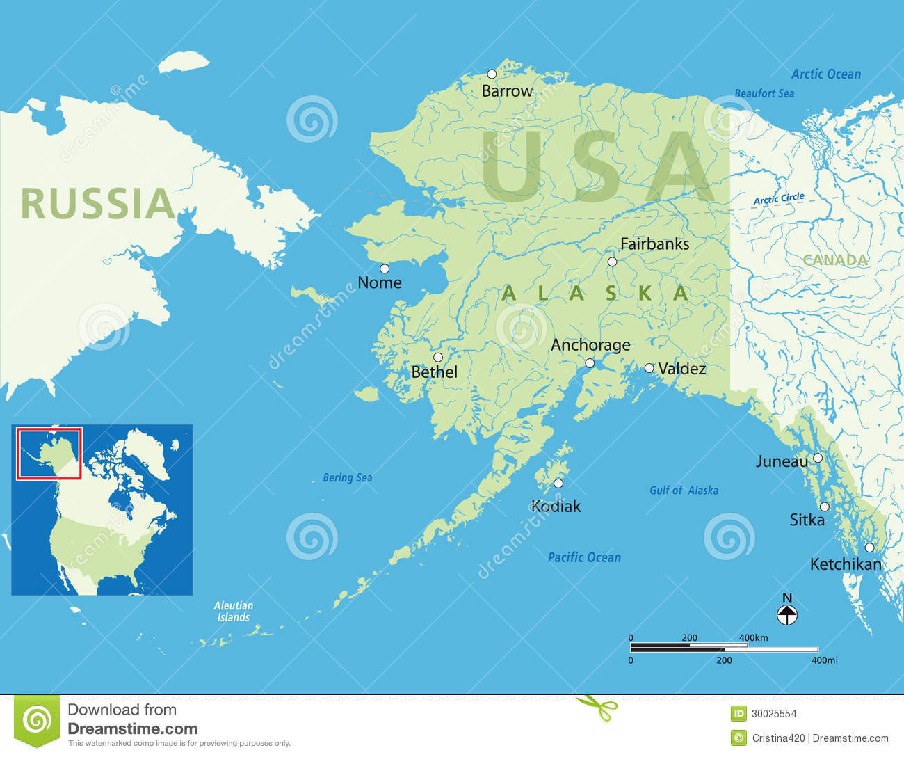Alaska map stock illustration Illustration of destinations 30025554