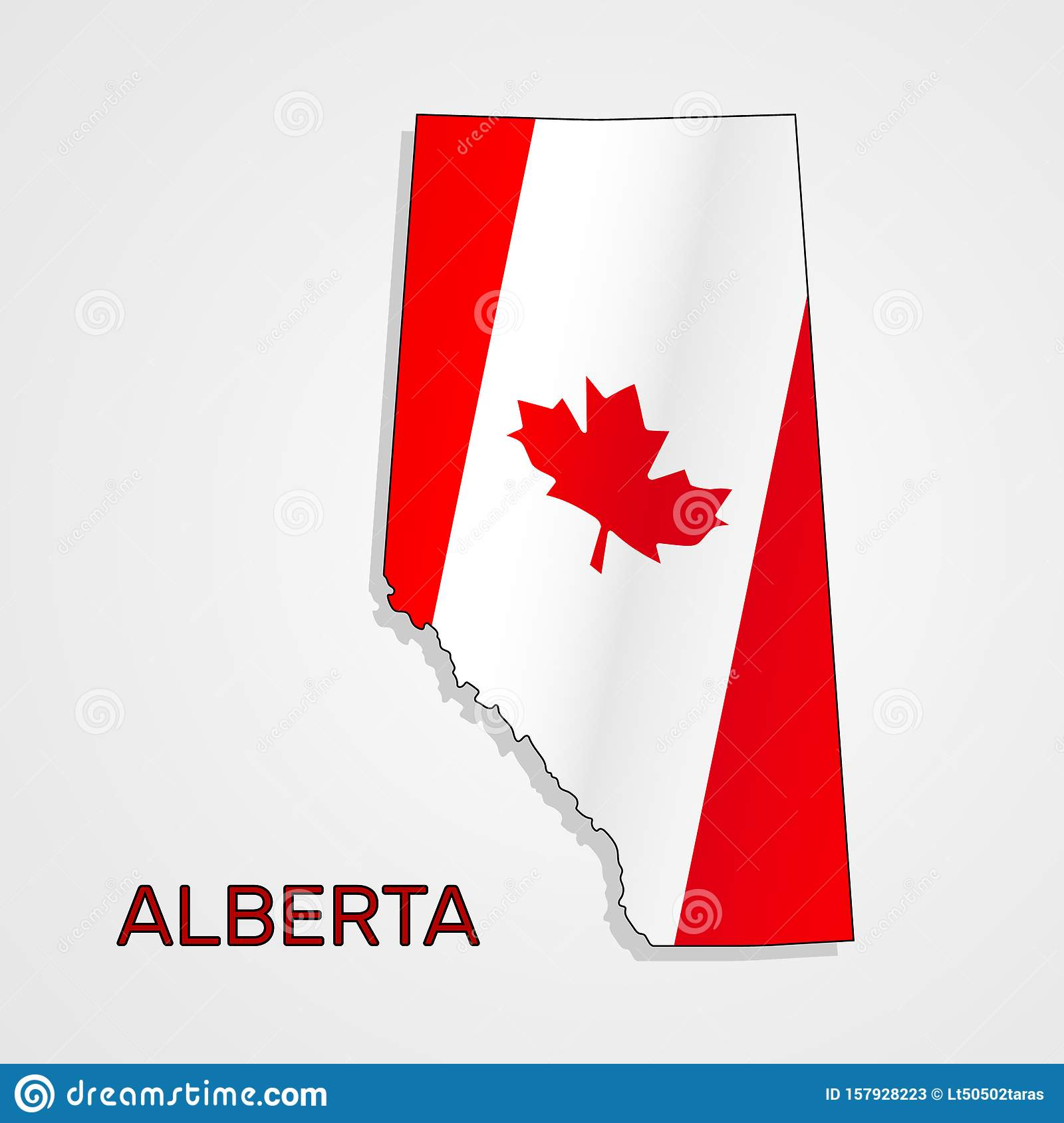 Map of Alberta combined with Canada flag - Vector