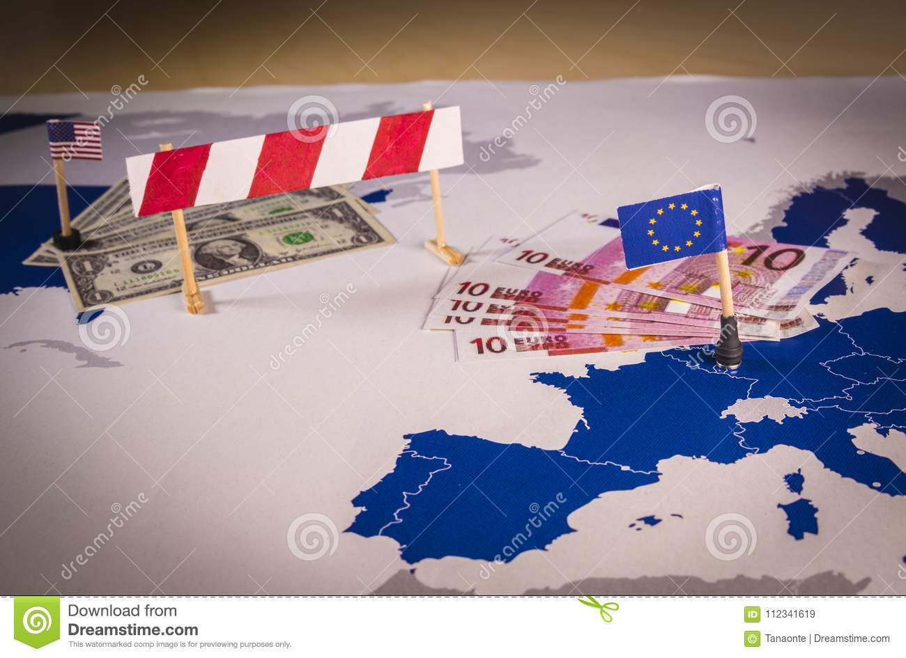 Map of america and eu separated with a barrier stock image image royalty free stock photo gumiabroncs Image collections