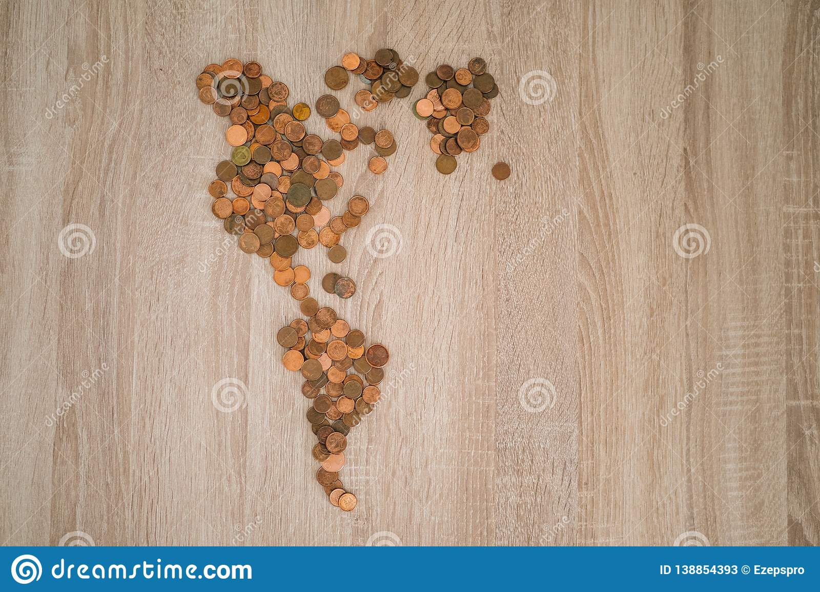 Map of the american continent made with coins