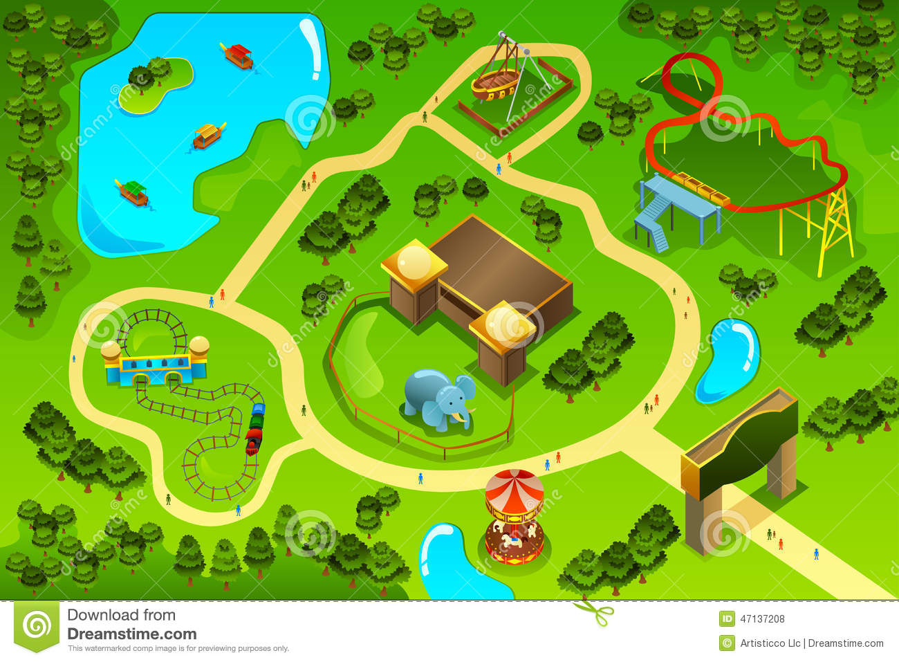 Map Of An Amusement Theme Park Stock Vector - Image: 47137208