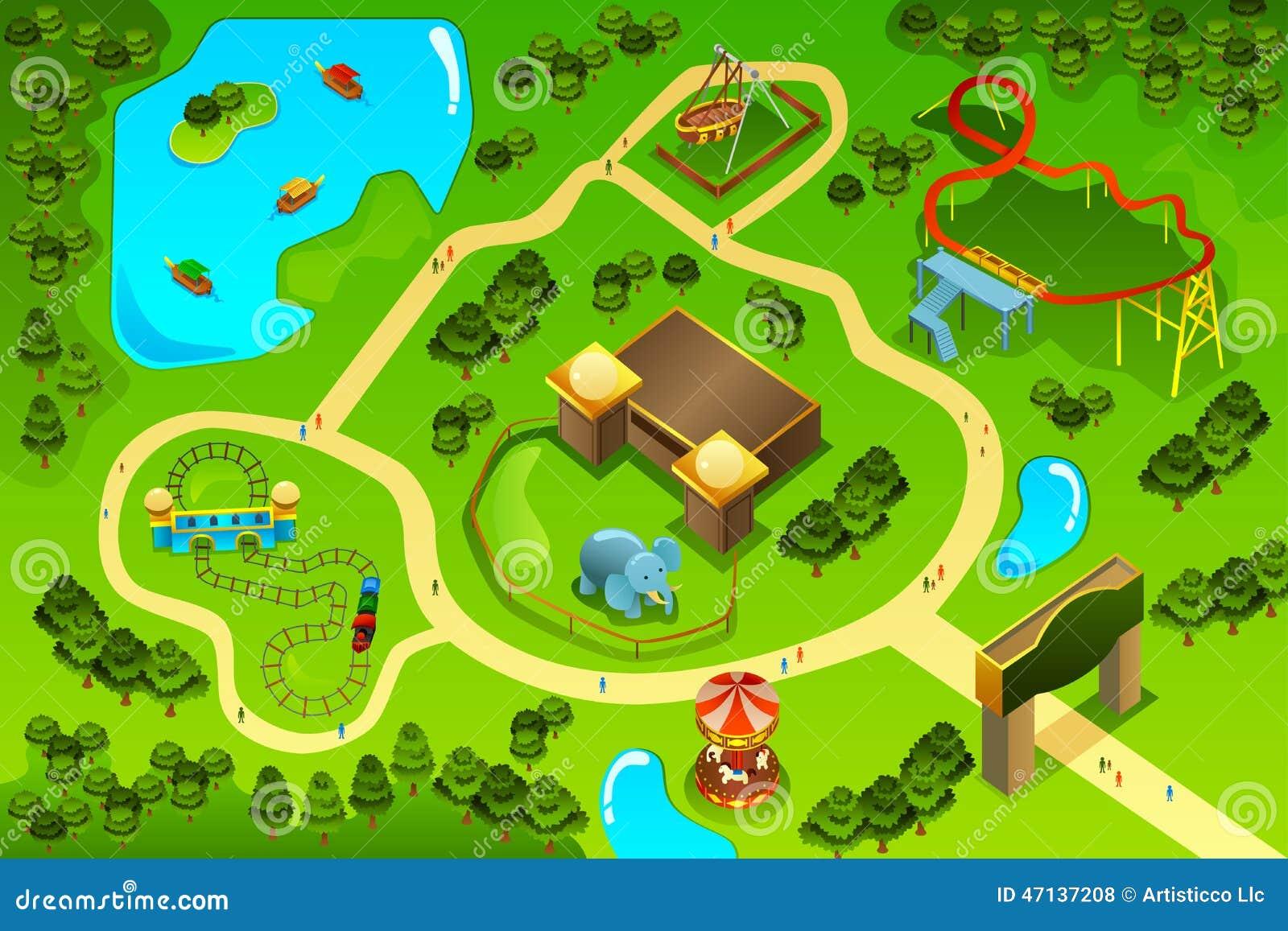 Map Of An Amusement Theme Park Stock Vector Illustration