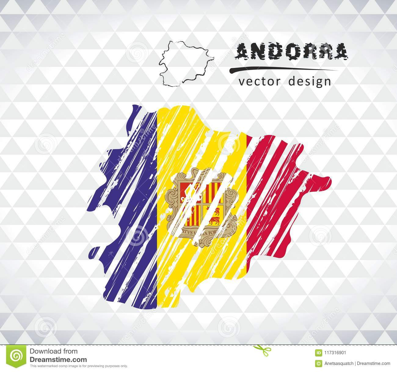 Map of Andorra with hand drawn sketch map inside. Vector illustration