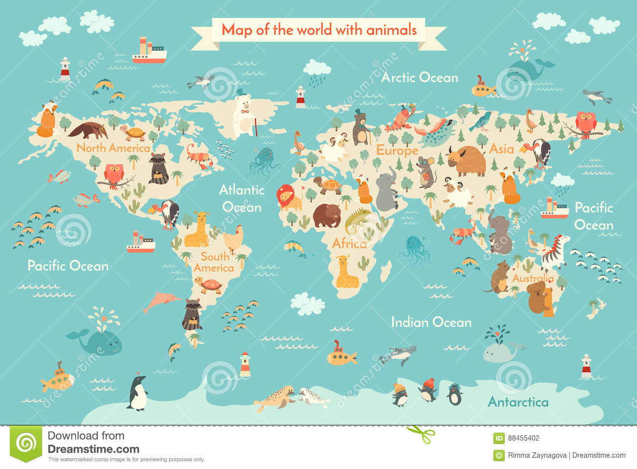 Map Animal For Kid Stock Vector Illustration Of Eurasia