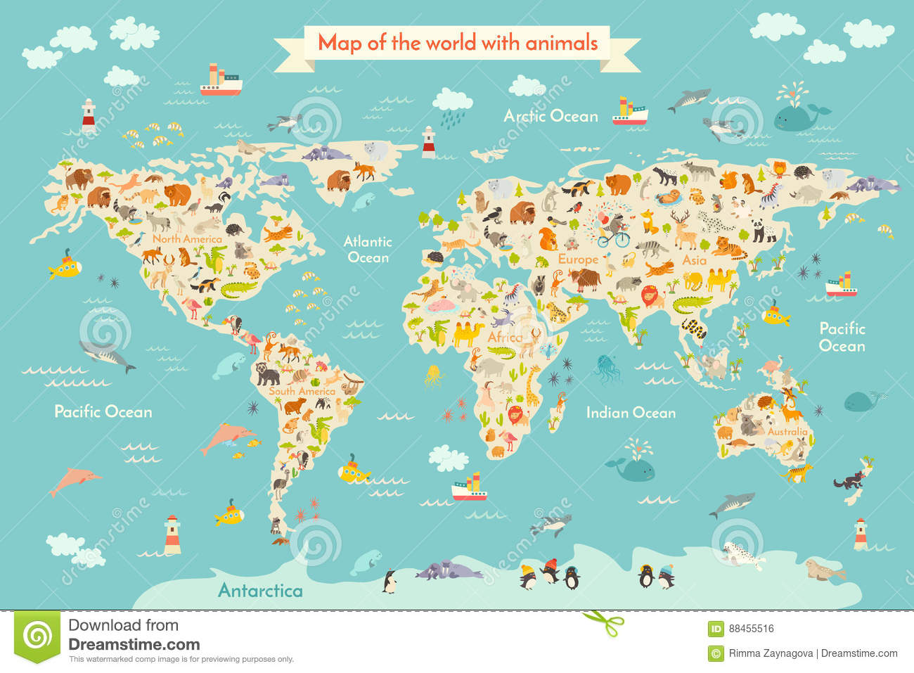 Map animal for kid stock vector illustration of childs 88455516 download comp gumiabroncs Images