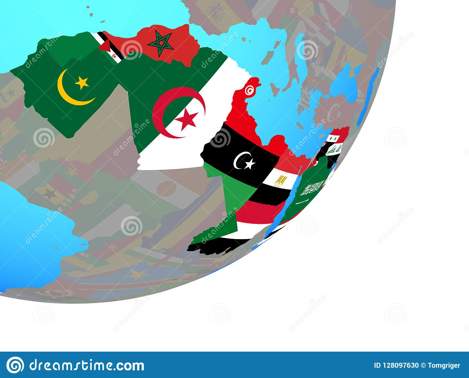 Picture of: Map Of Arab League With Flag On Globe Stock Illustration Illustration Of States League 128097630