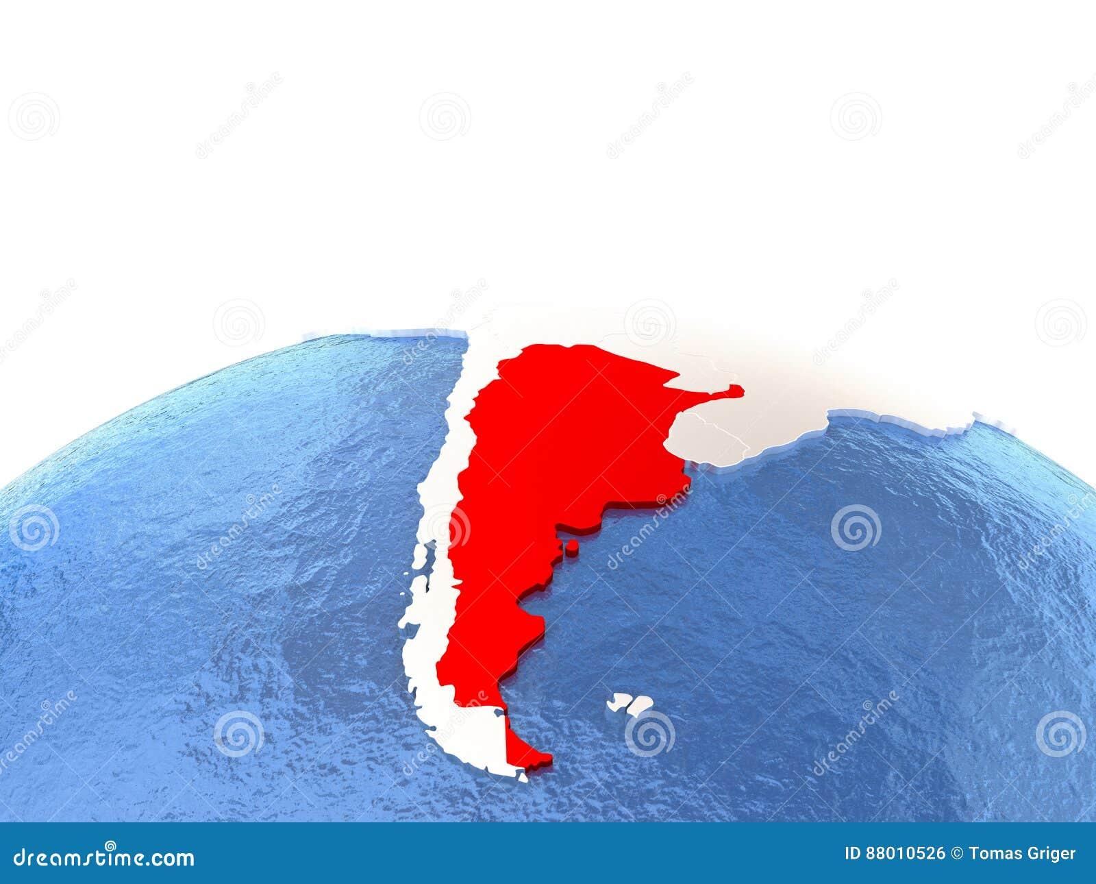 Map Of Argentina On Globe Stock Illustration Image - Argentina globe map