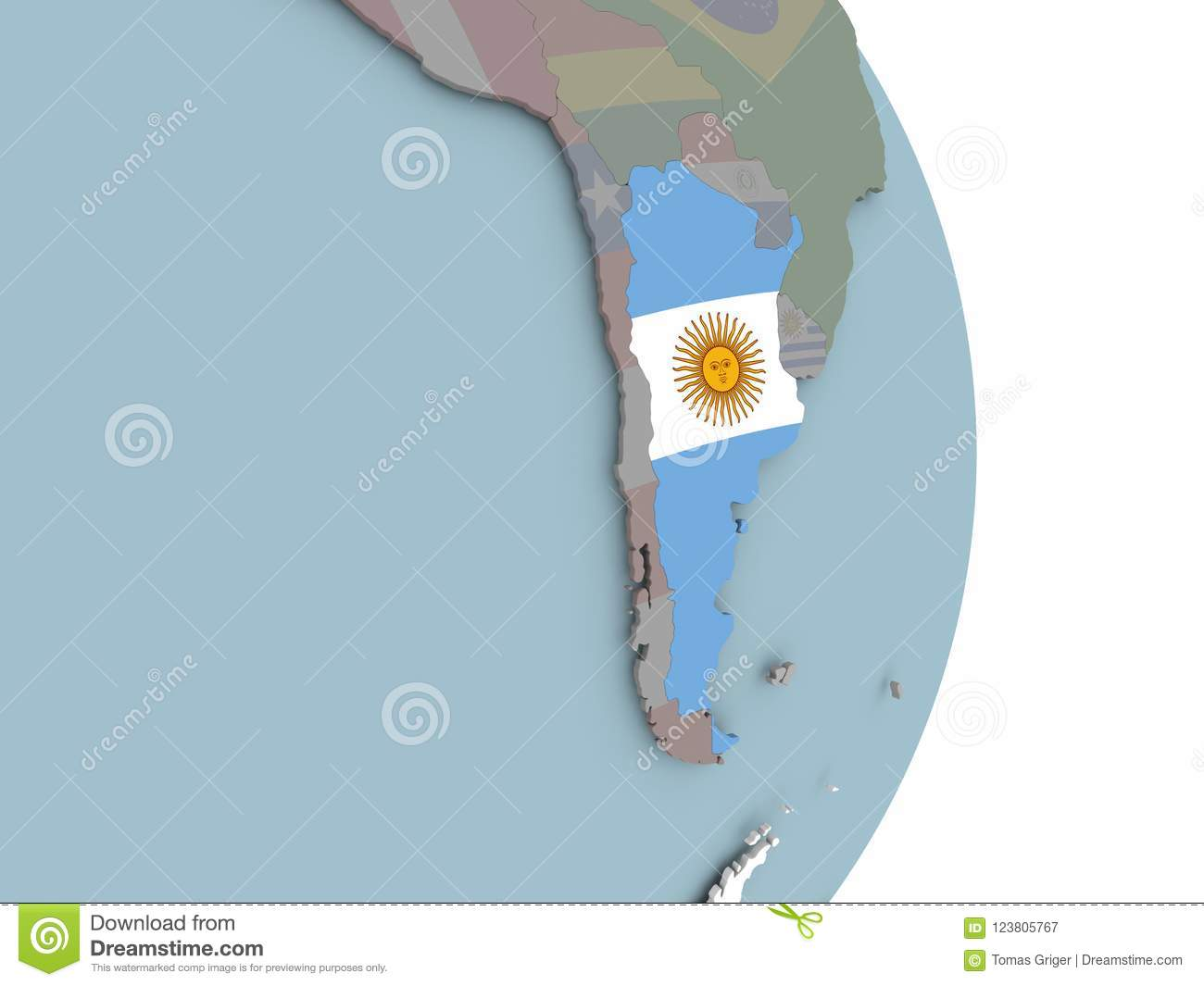 Map Of Argentina On Political Globe With Flag Stock Illustration