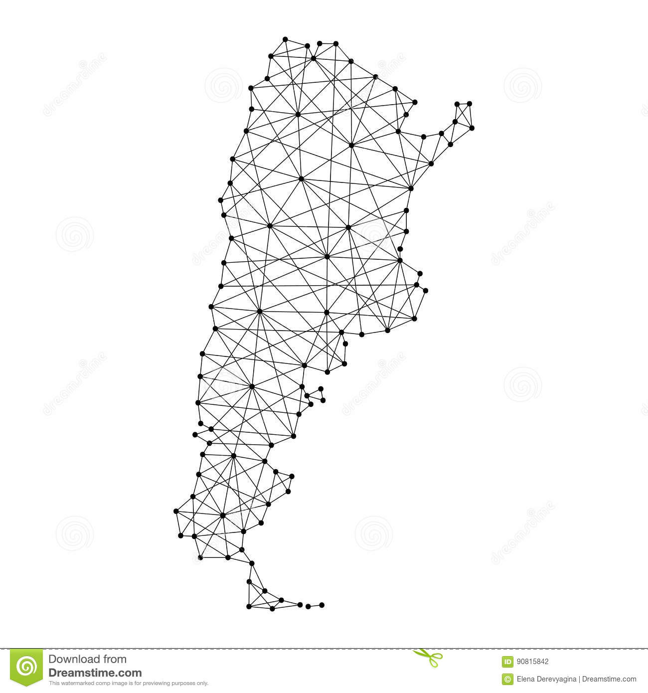 Map Of Argentina From Polygonal Black Lines Dots Of Vector - Argentina map black and white