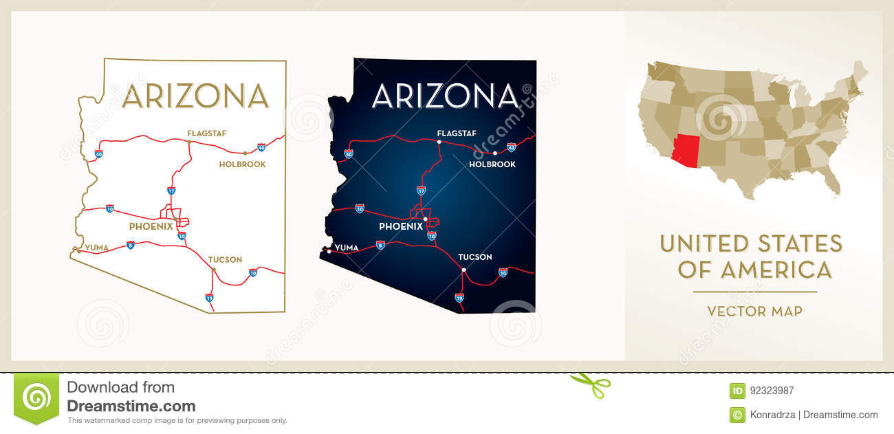 Map Of Arizona Only.Map Of Arizona Stock Vector Illustration Of Land Fifty 92323987