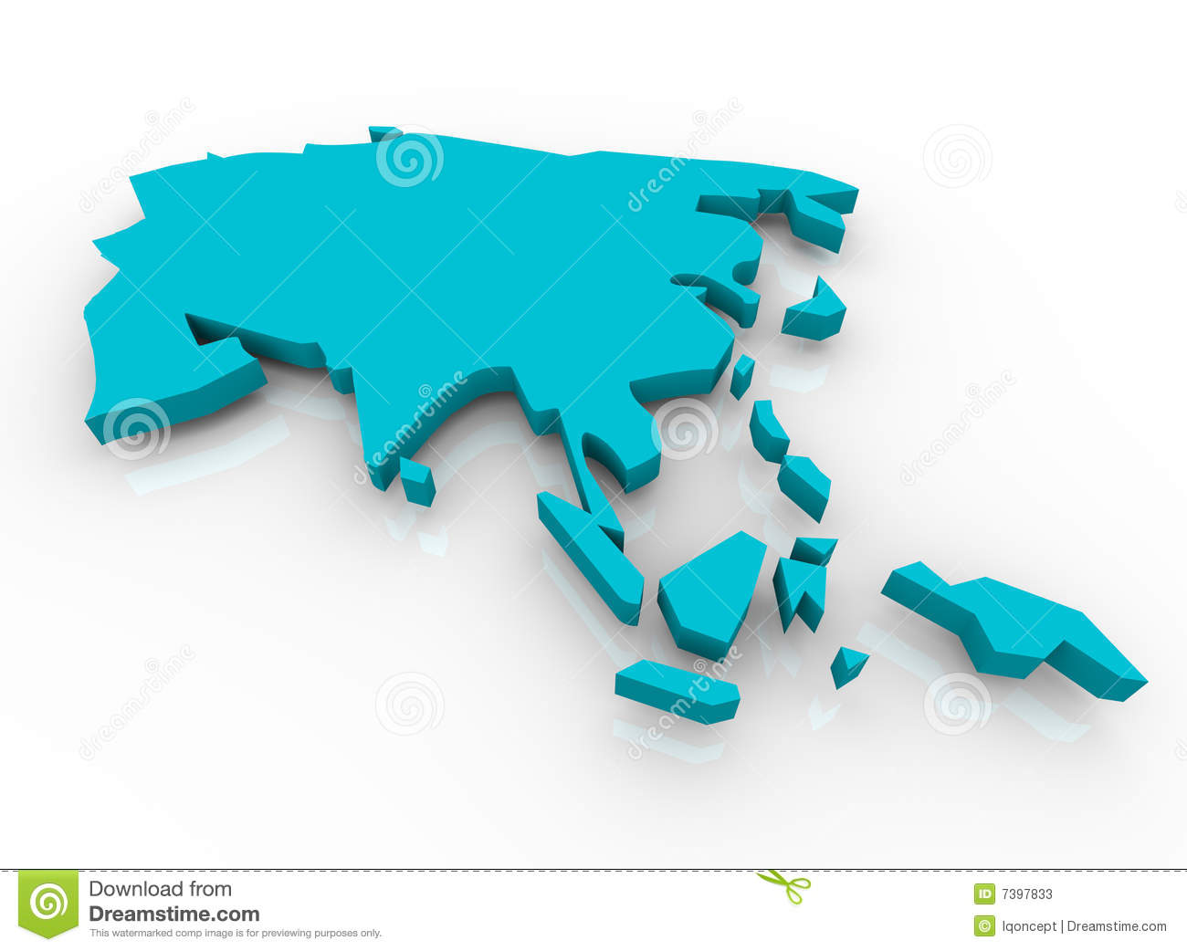 Map of Asia - Blue stock illustration. Illustration of colleagues ...