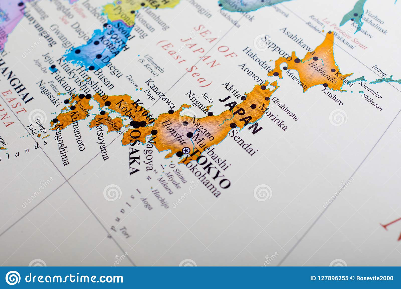 Map Of Asia And Japan.Map Focus On Japan Stock Image Image Of Osaka World 127896255