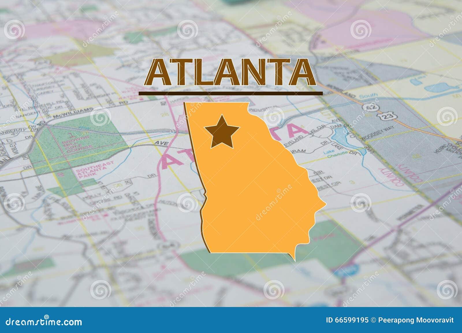City Map Of Atlanta Georgia.Map Of Atlanta Georgia Stock Image Image Of America 66599195