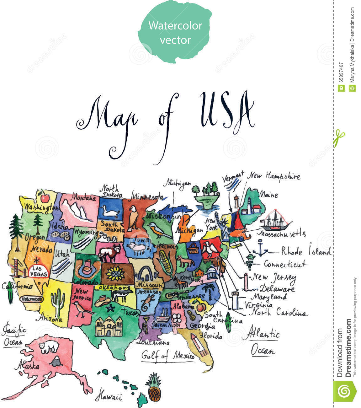 Map Of Attractions Of United States Of America Stock Vector - Hand drawn us map vector