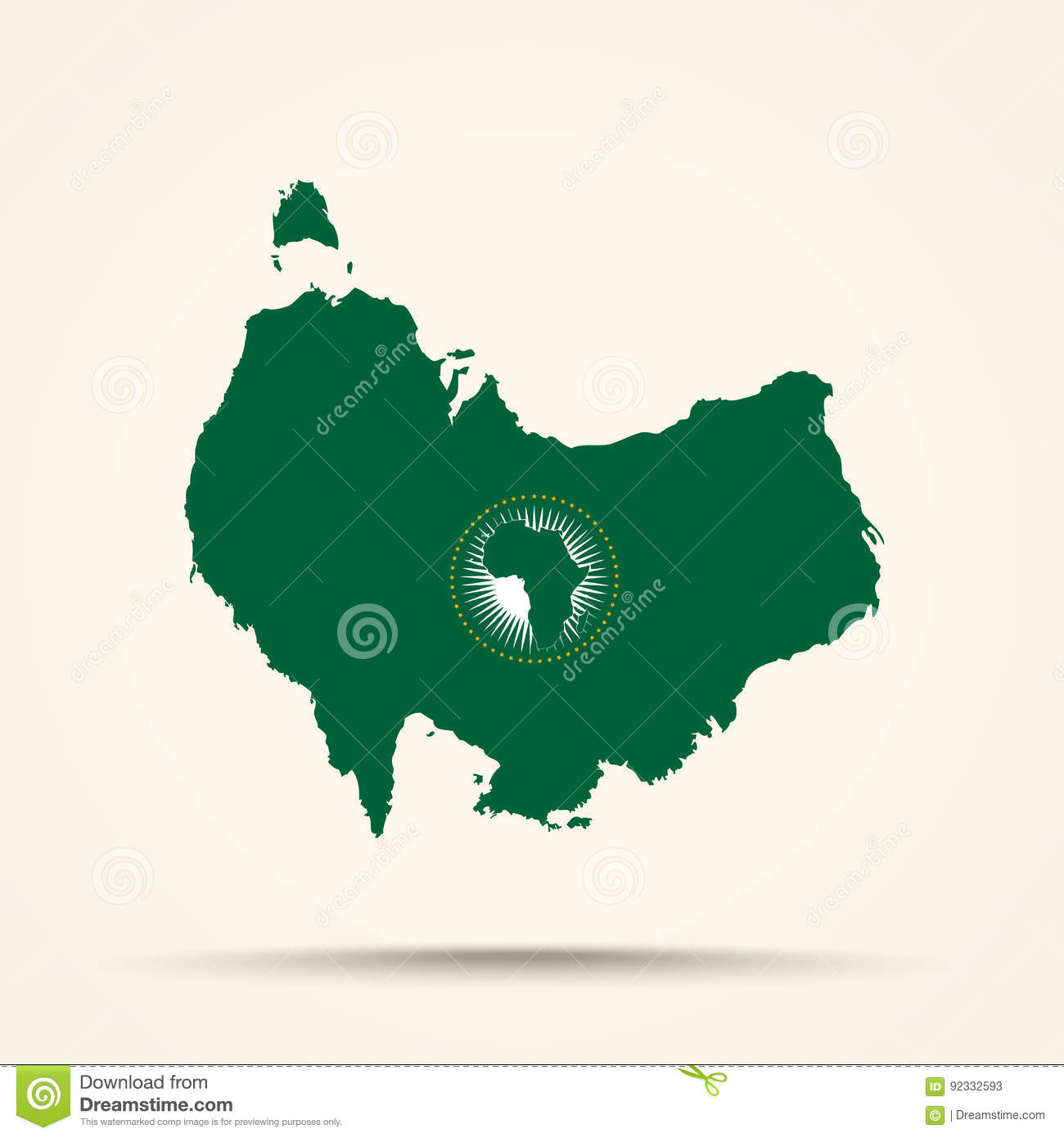 African Union Map.Map Of Australia In African Union Flag Colors Stock Vector