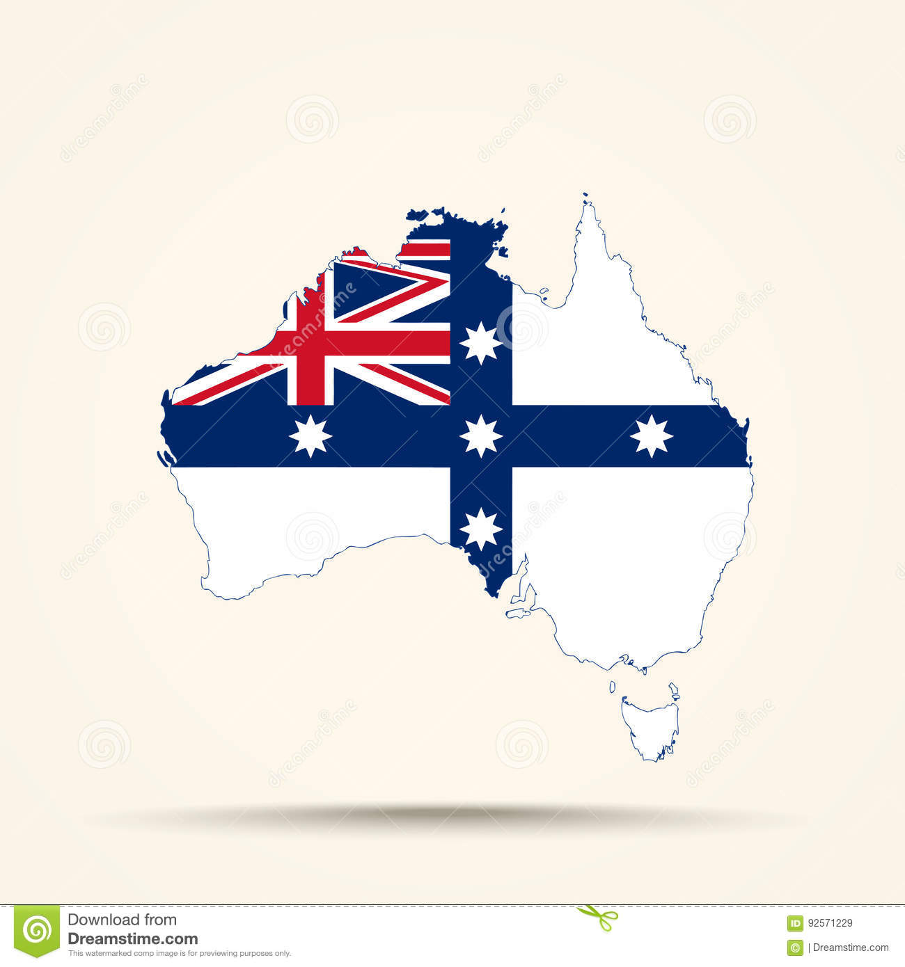 Map Of Australia Before Federation.Map Of Australia In Australian Federation Flag Colors Stock Vector