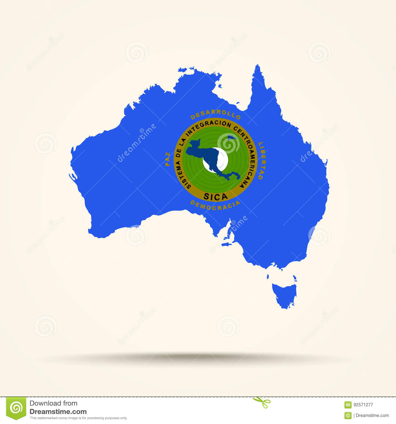 Map Of Australia In Central American Integration System Flag Col ...
