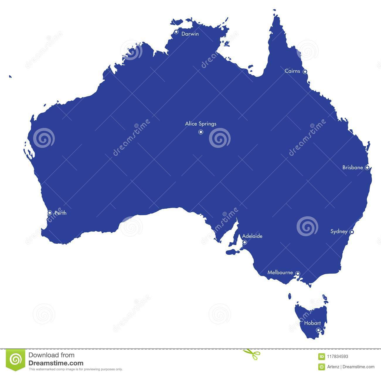 Australia Map With Cities.Map Of Australia With Cities Stock Illustration Illustration Of