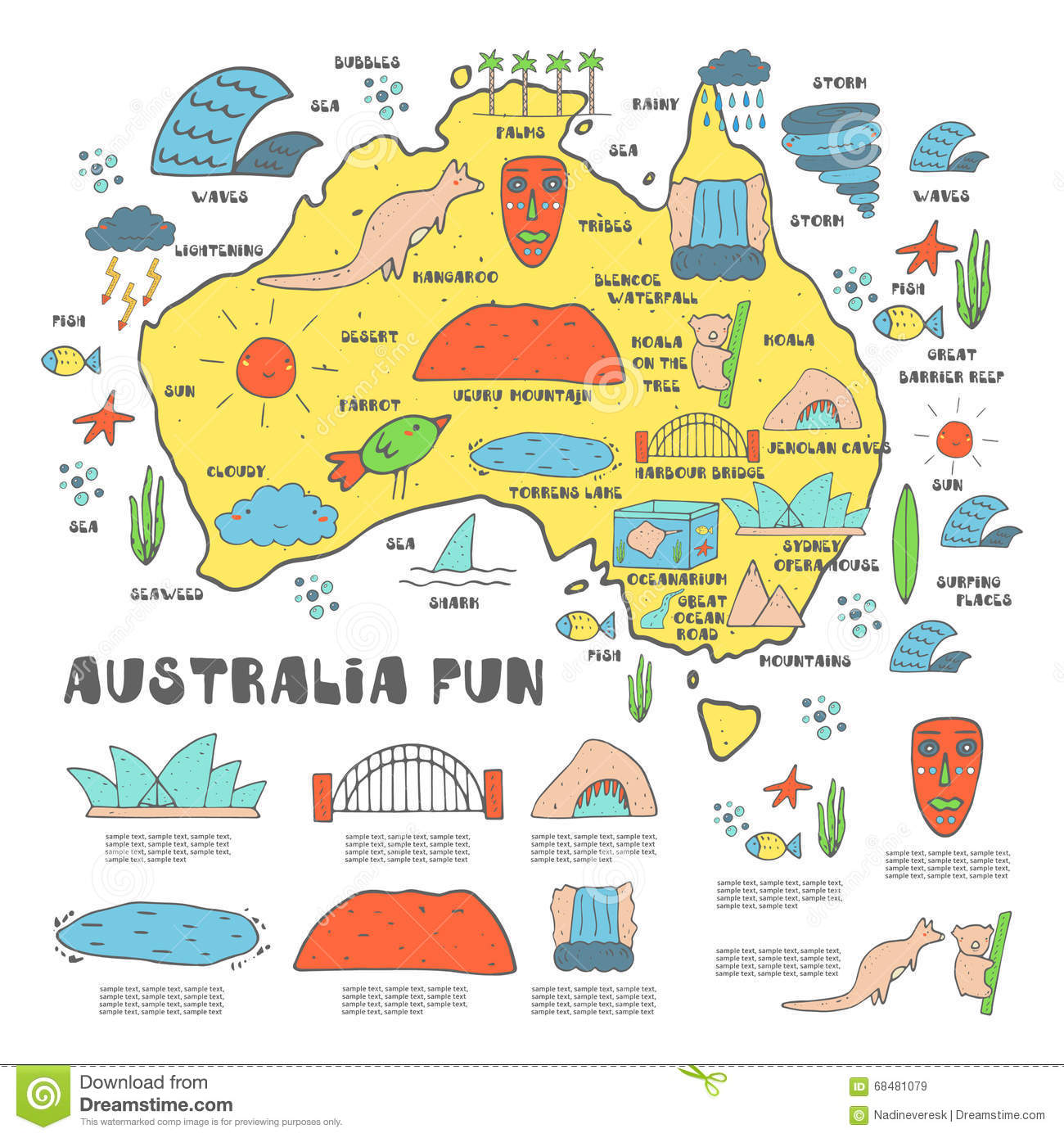 Doodle Australia Travel Map With Pins And Extras Vector – Travel Maps Australia