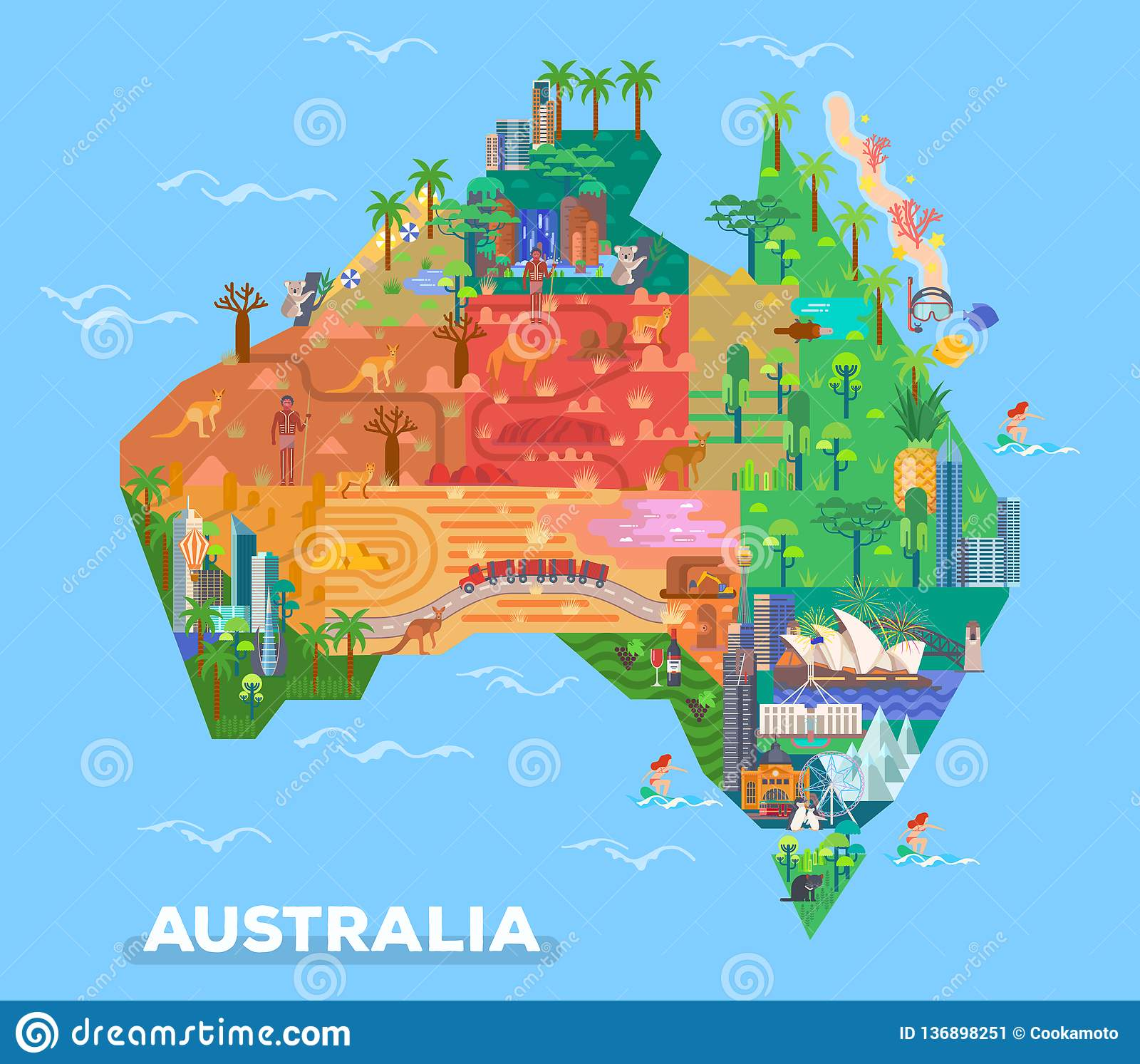 Australia Map Kalgoorlie.Map Of Australia With Landmarks Of Architecture Stock Vector